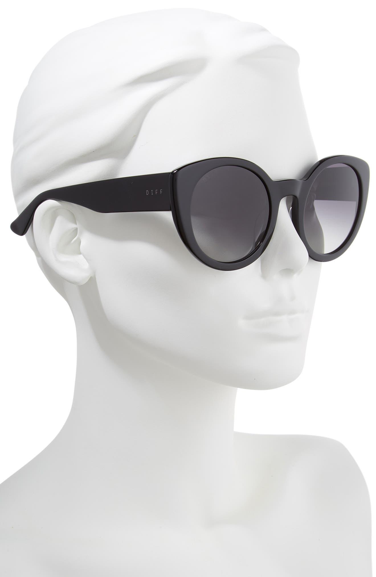 Luna 54mm Polarized Round Sunglasses,                             Alternate thumbnail 2, color,                             BLACK/ GREY