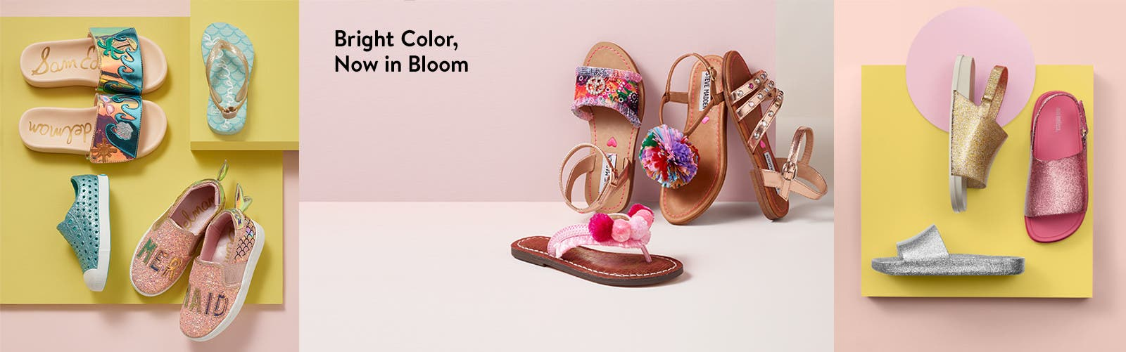 Girls' shoes in bright colors, now in bloom.