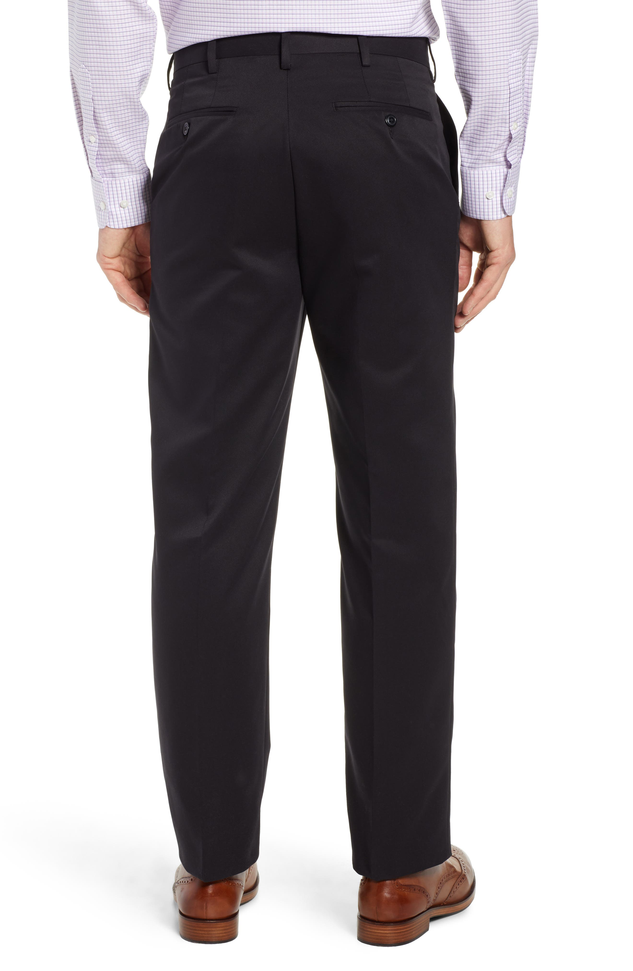 Classic Fit Flat Front Microfiber Performance Trousers,                             Alternate thumbnail 2, color,                             BLACK
