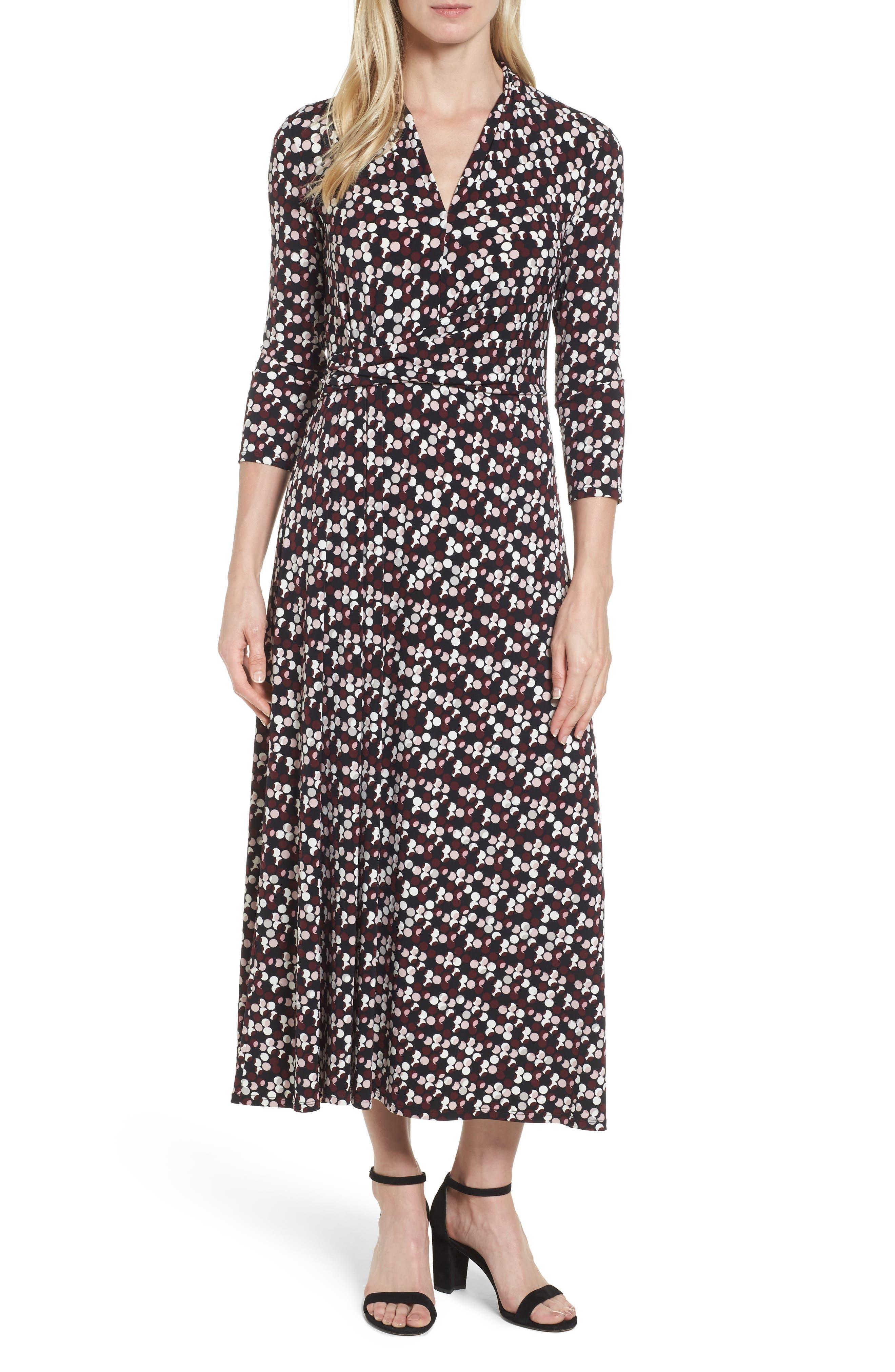 Dot Print Midi Dress,                         Main,                         color, 006