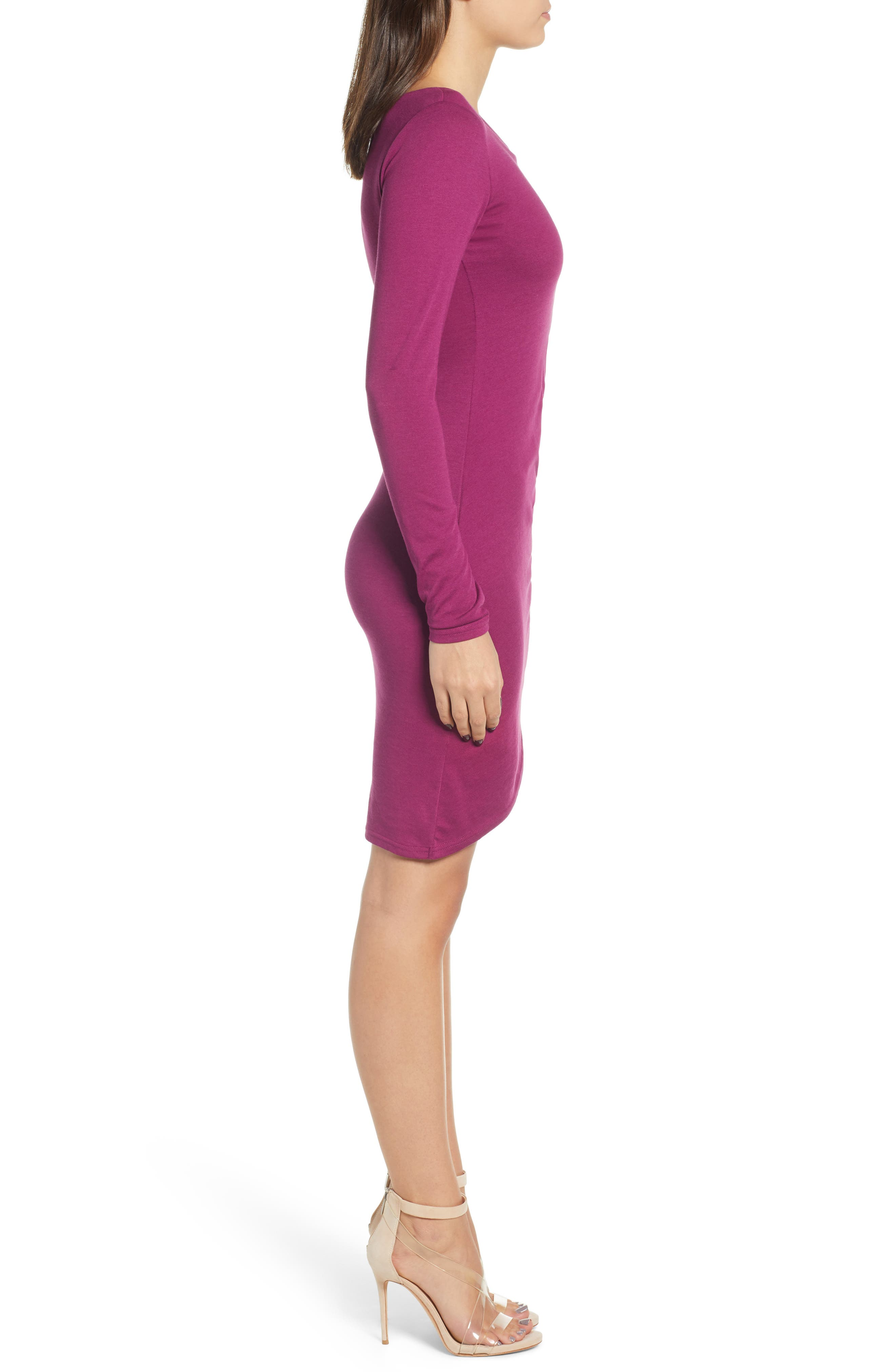 Ruched Long Sleeve Dress,                             Alternate thumbnail 3, color,                             PURPLE MAGENTA