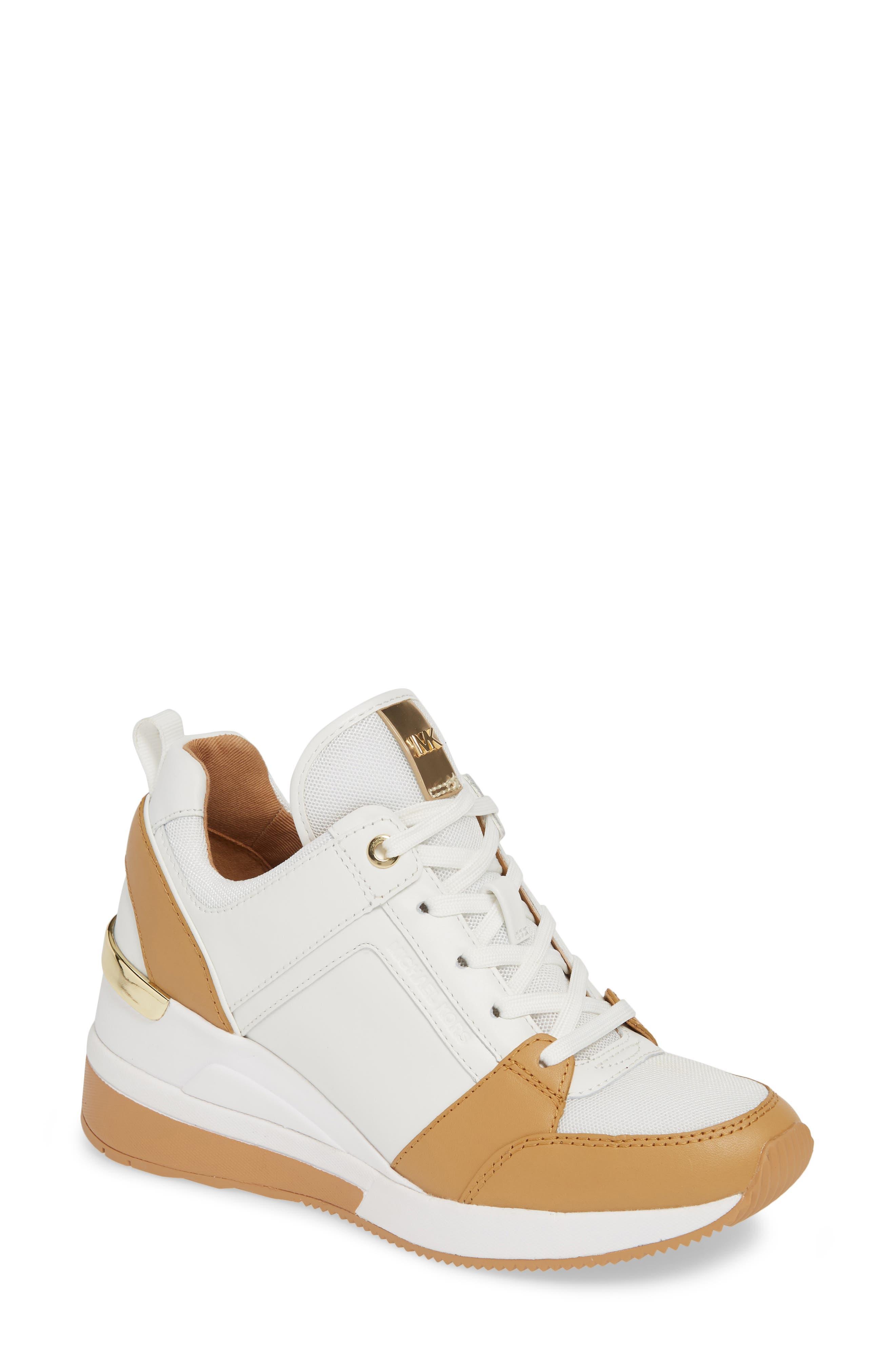 MICHAEL MICHAEL KORS Georgie Wedge Sneaker, Main, color, OPTIC WHITE MULTI