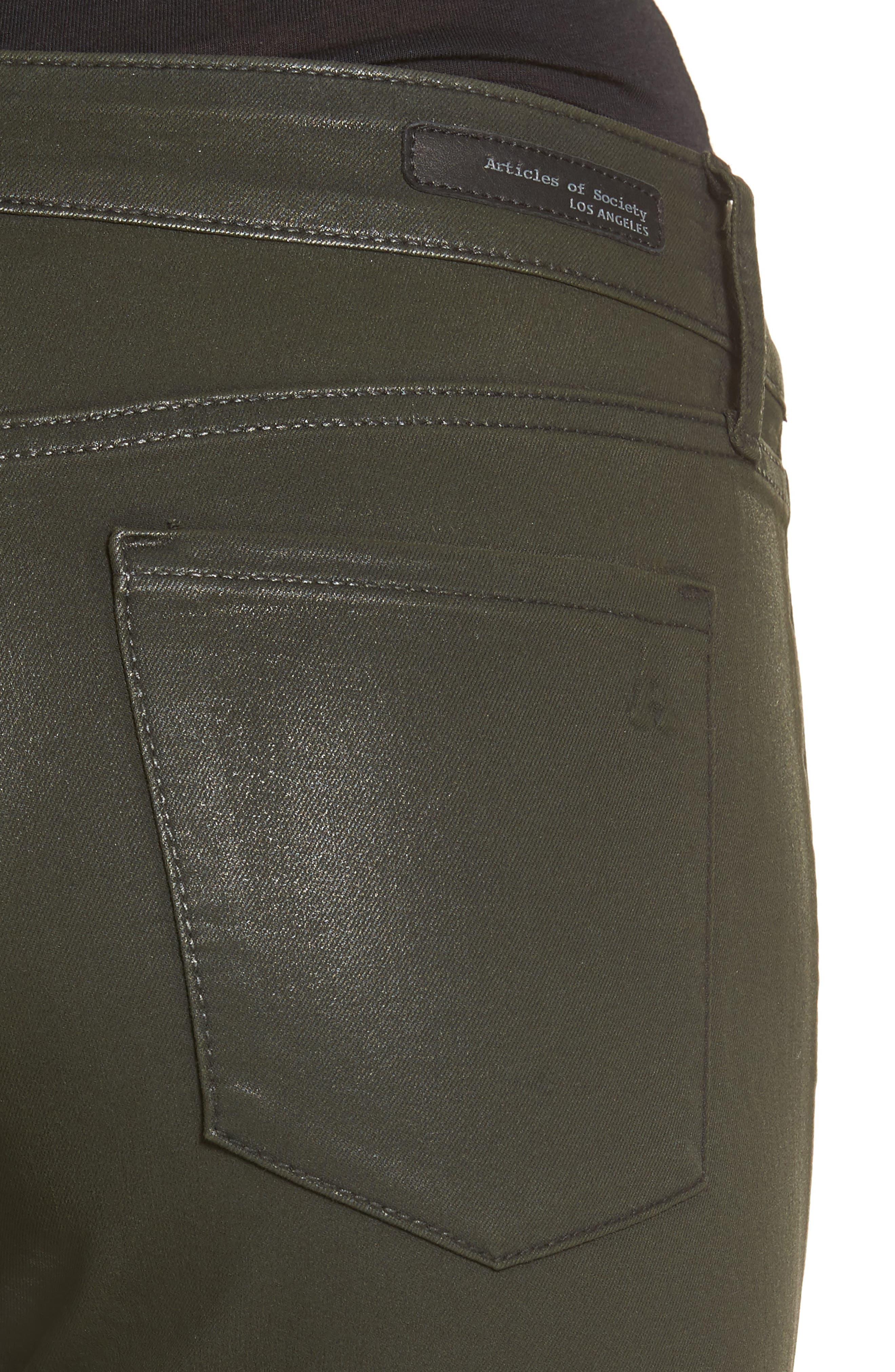 Sarah Coated Skinny Jeans,                             Alternate thumbnail 4, color,                             317