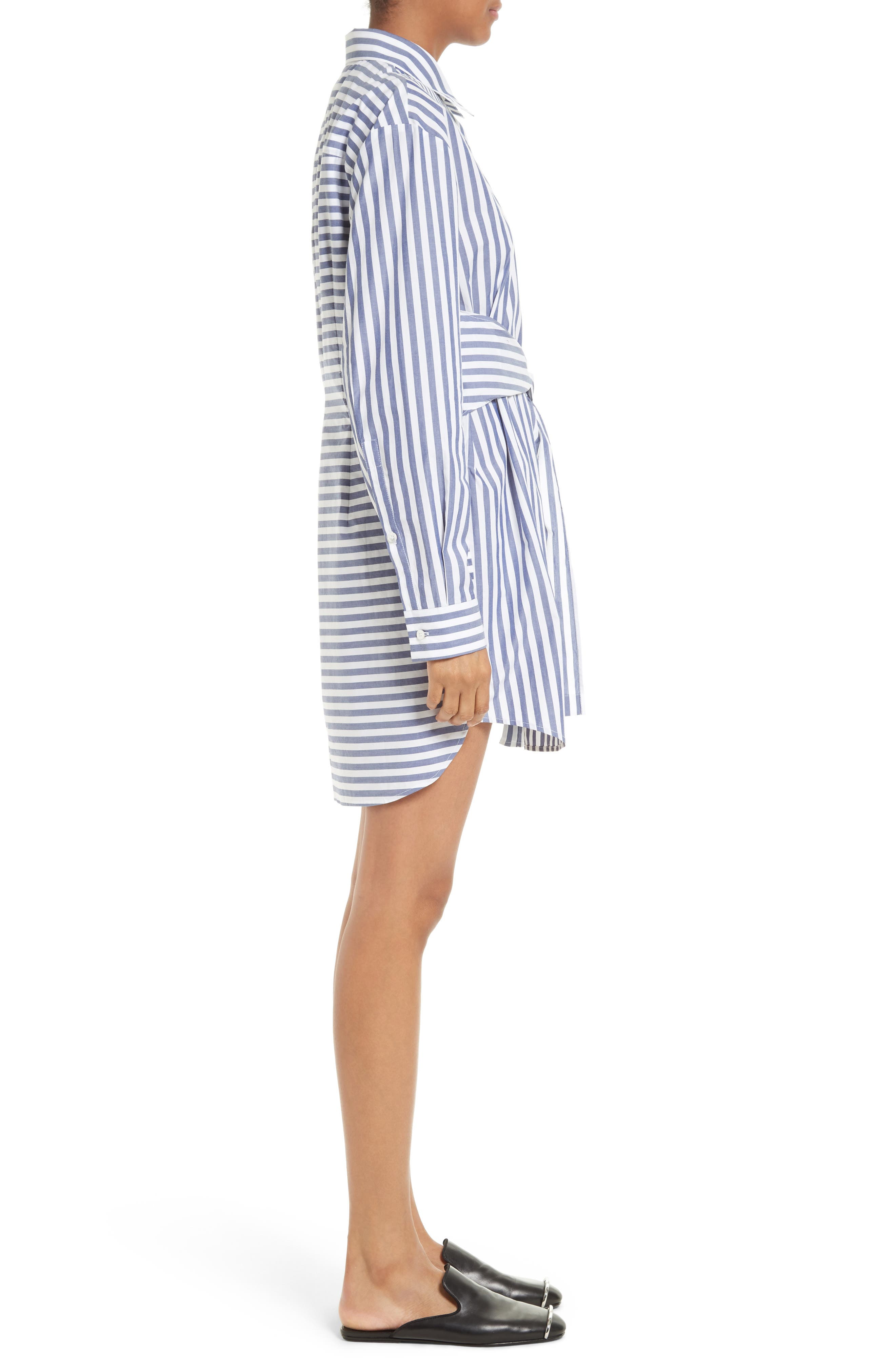 T by Alexander Wang Stripe Tie Front Shirtdress,                             Alternate thumbnail 3, color,                             150