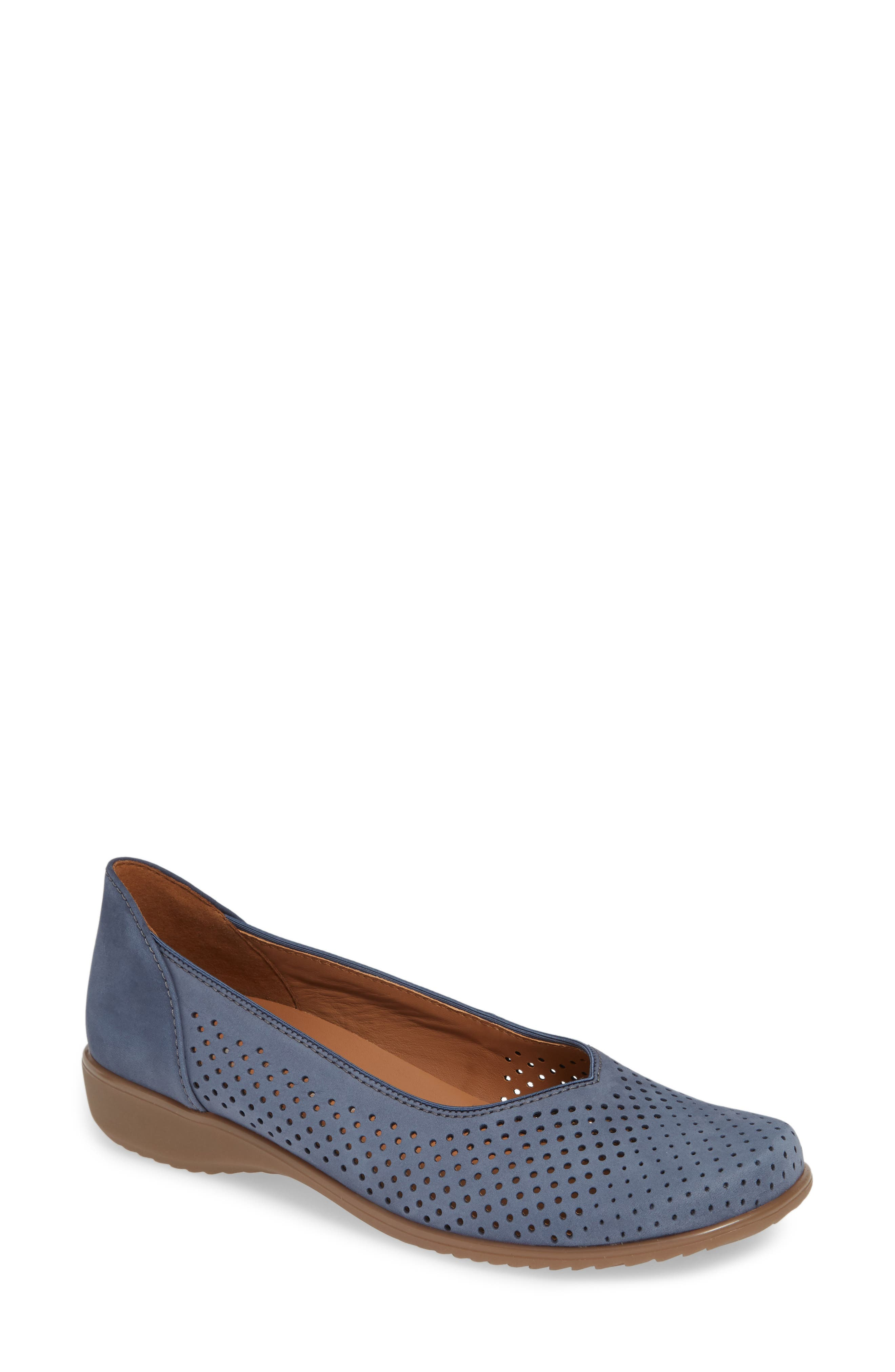 ARA Avril Perforated Flat, Main, color, JEANS NUBUCK LEATHER