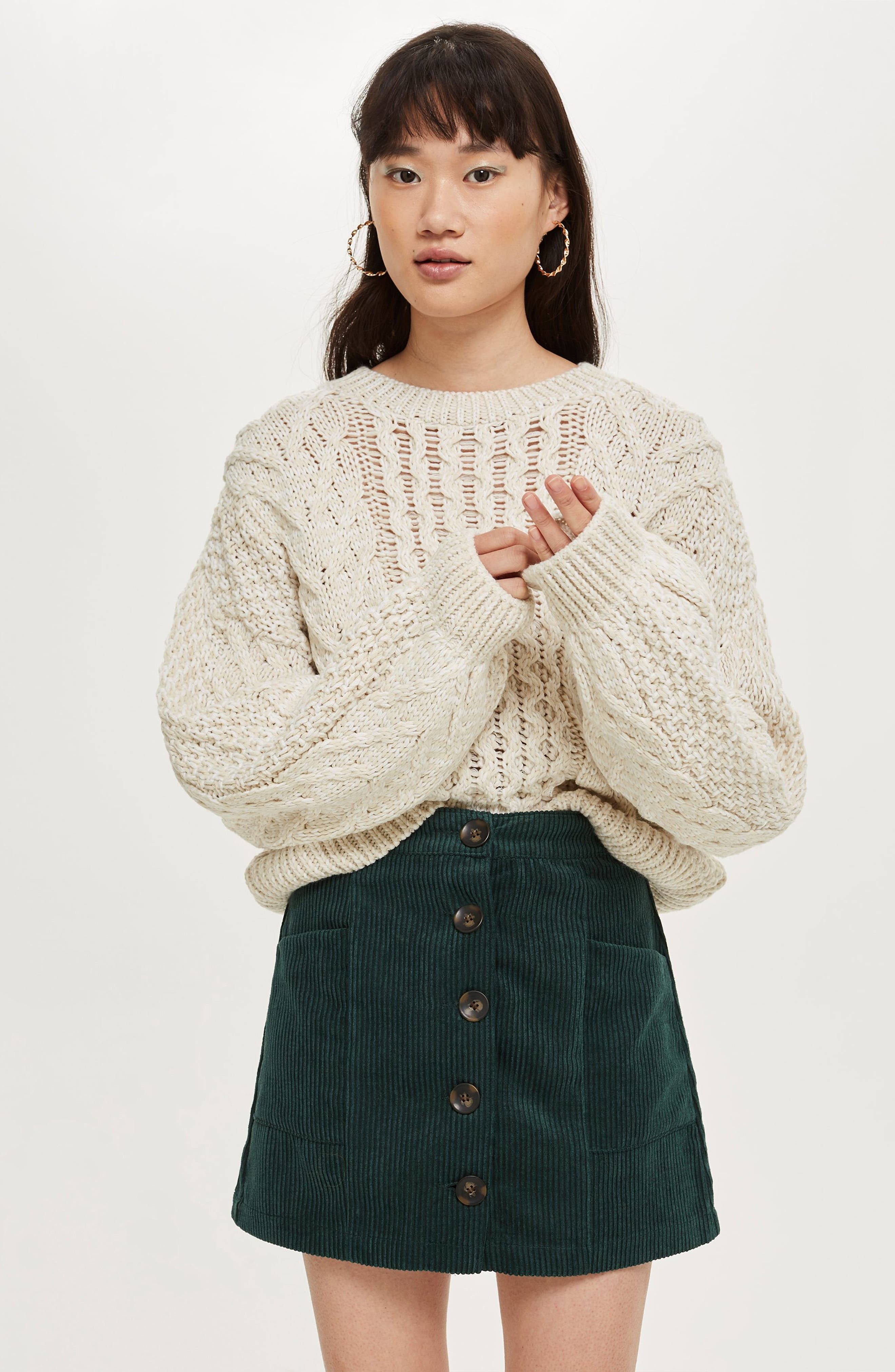 Corduroy Miniskirt,                             Alternate thumbnail 4, color,                             GREEN