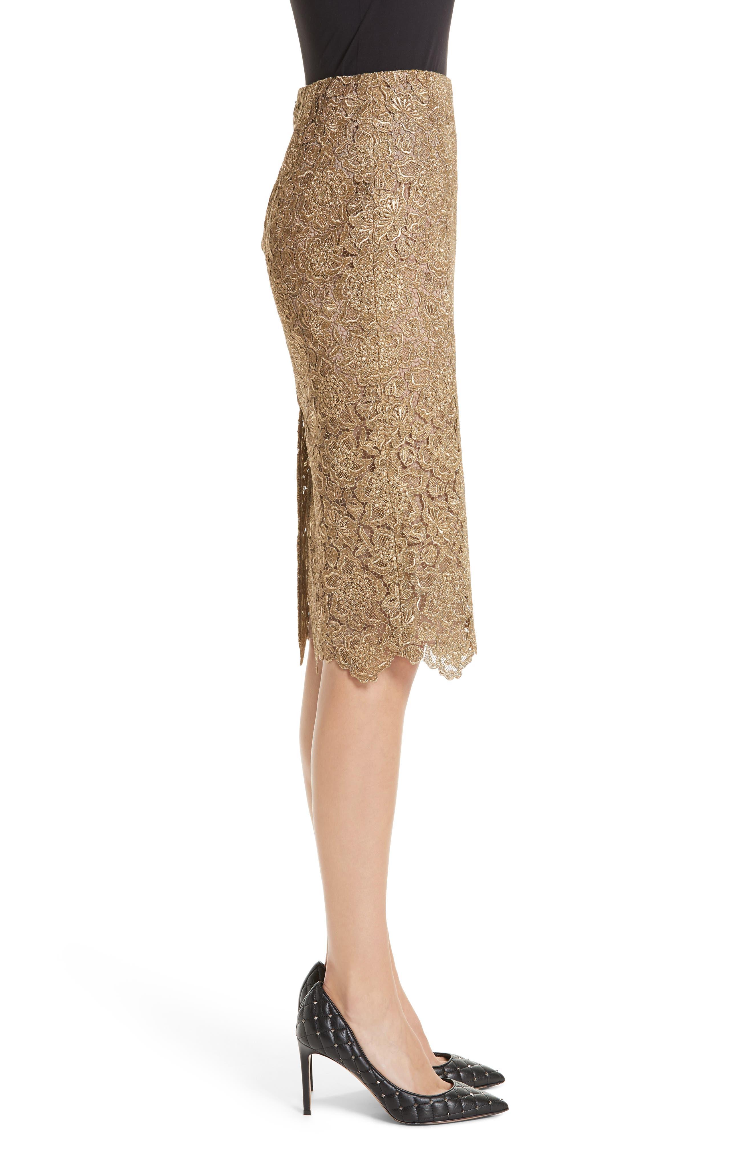 Anemone Guipure Lace Pencil Skirt,                             Alternate thumbnail 3, color,                             GOLD