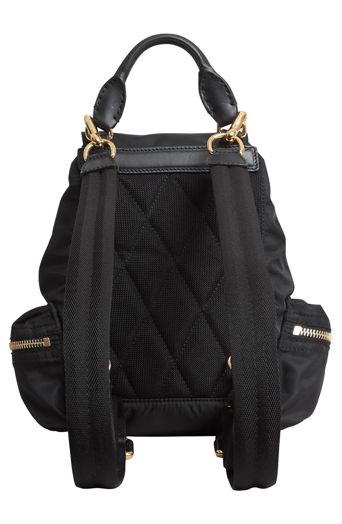 Small Rucksack Nylon Backpack,                             Alternate thumbnail 4, color,                             BLACK