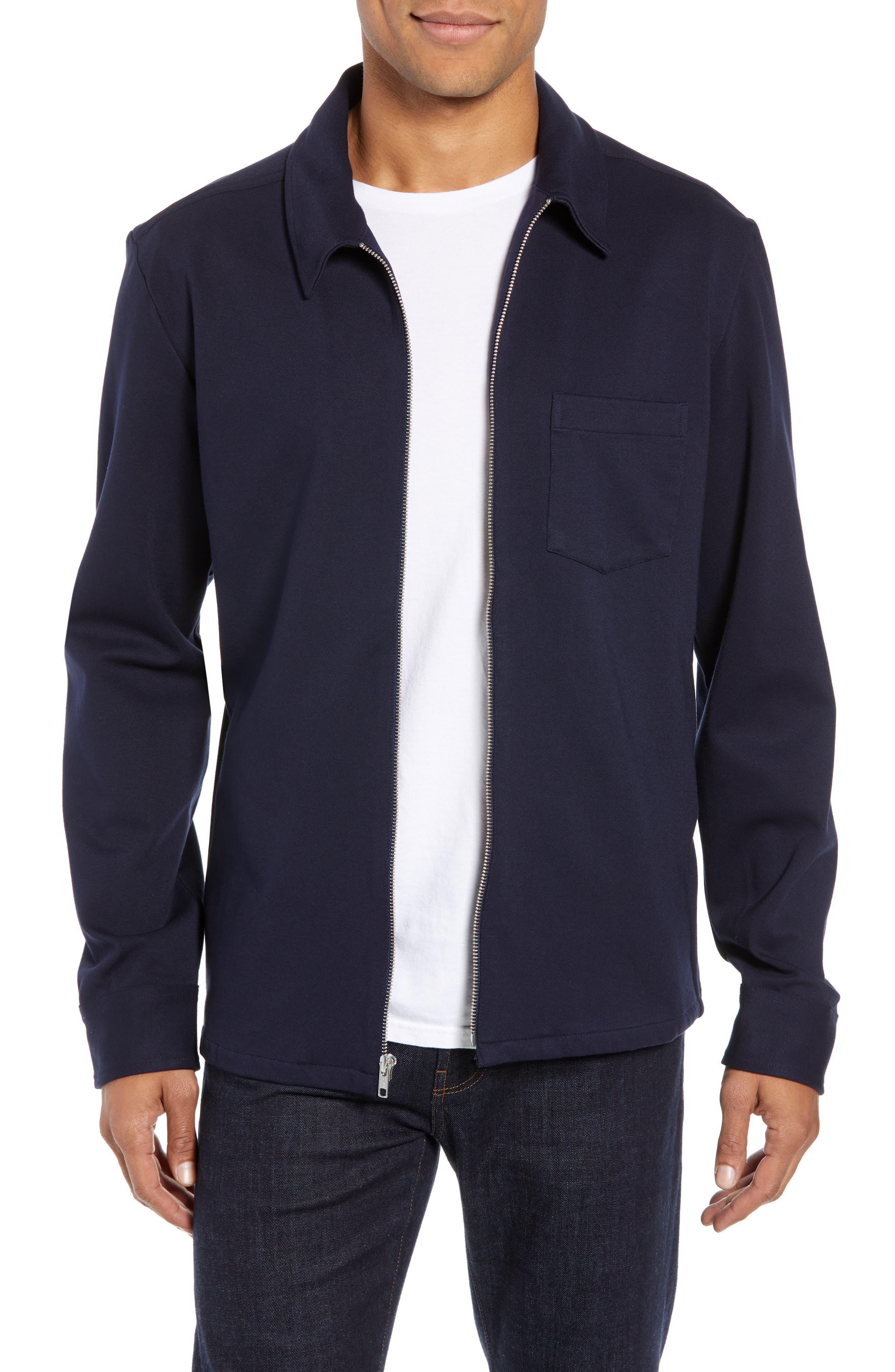 Zip Front Shirt Jacket,                             Main thumbnail 1, color,                             NAVY NIGHT