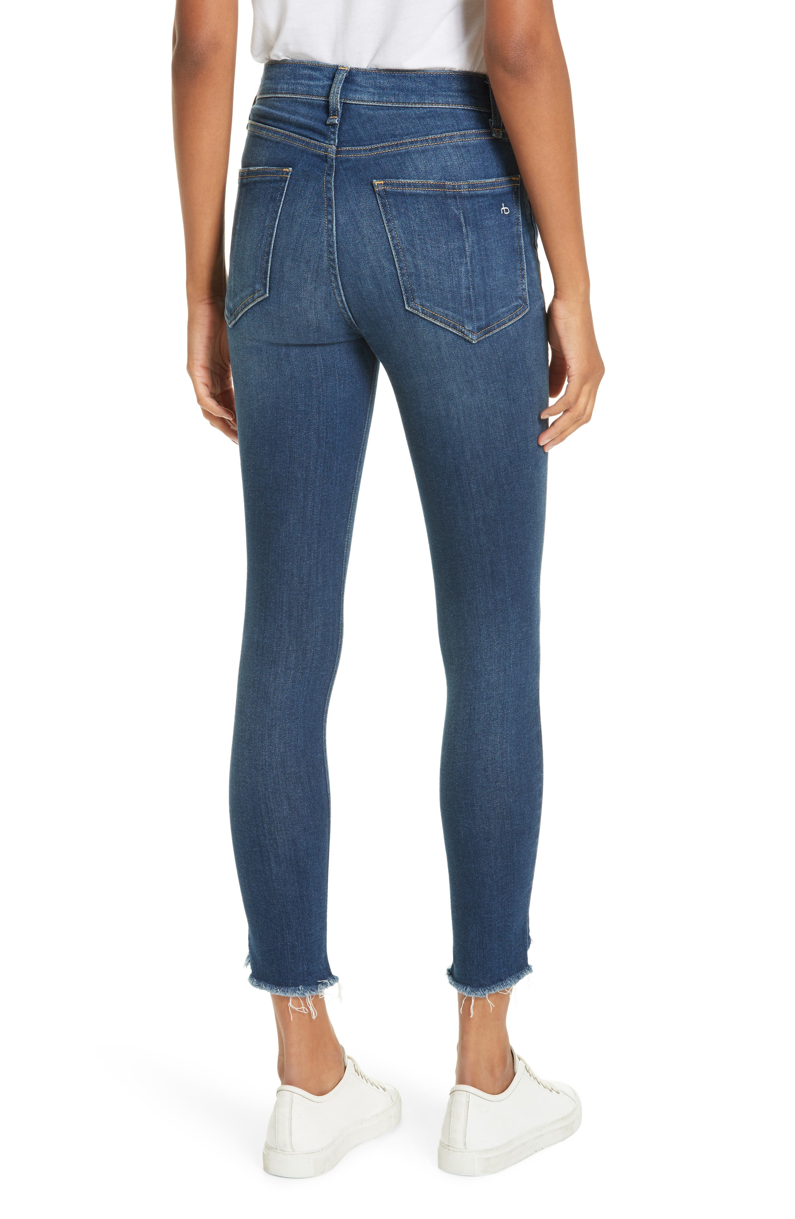 High Waist Fray Crop Skinny Jeans,                             Alternate thumbnail 2, color,                             LENOX