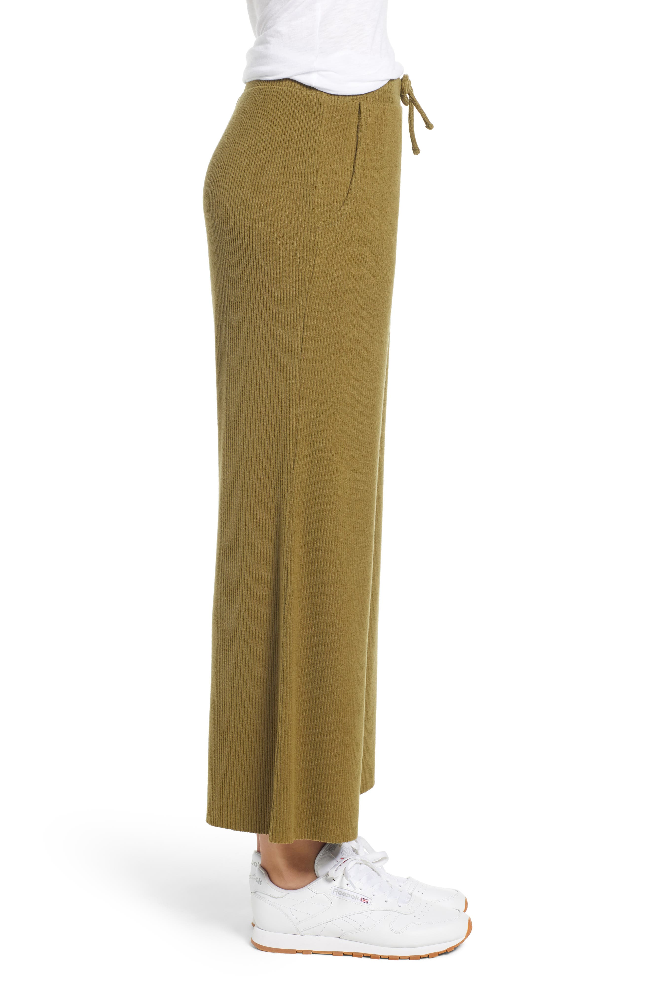 Ribbed Wide Leg Crop Pants,                             Alternate thumbnail 3, color,                             OLIVE ITALY