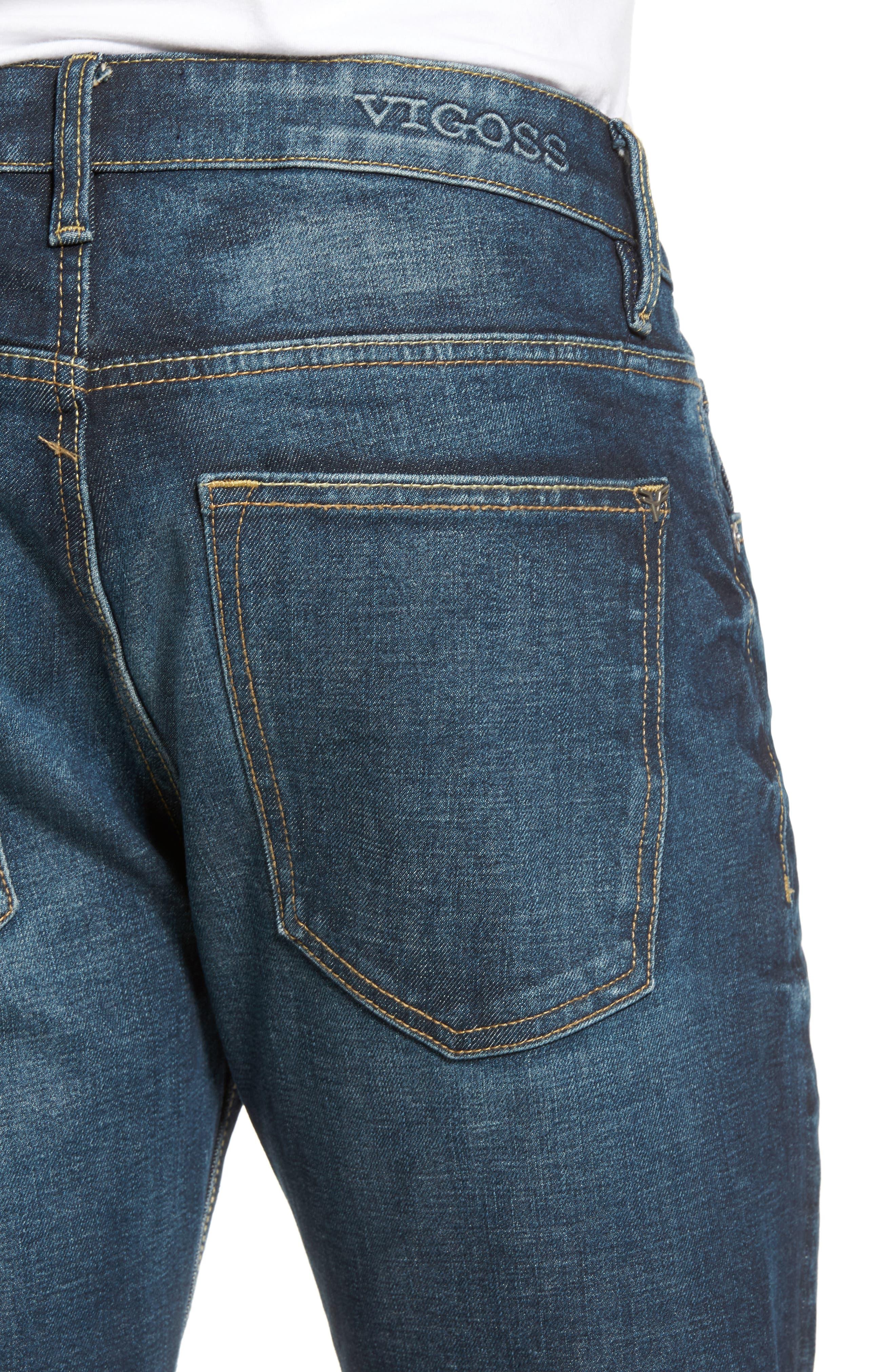 Slim Straight Leg Jeans,                             Alternate thumbnail 4, color,                             DARK WASH