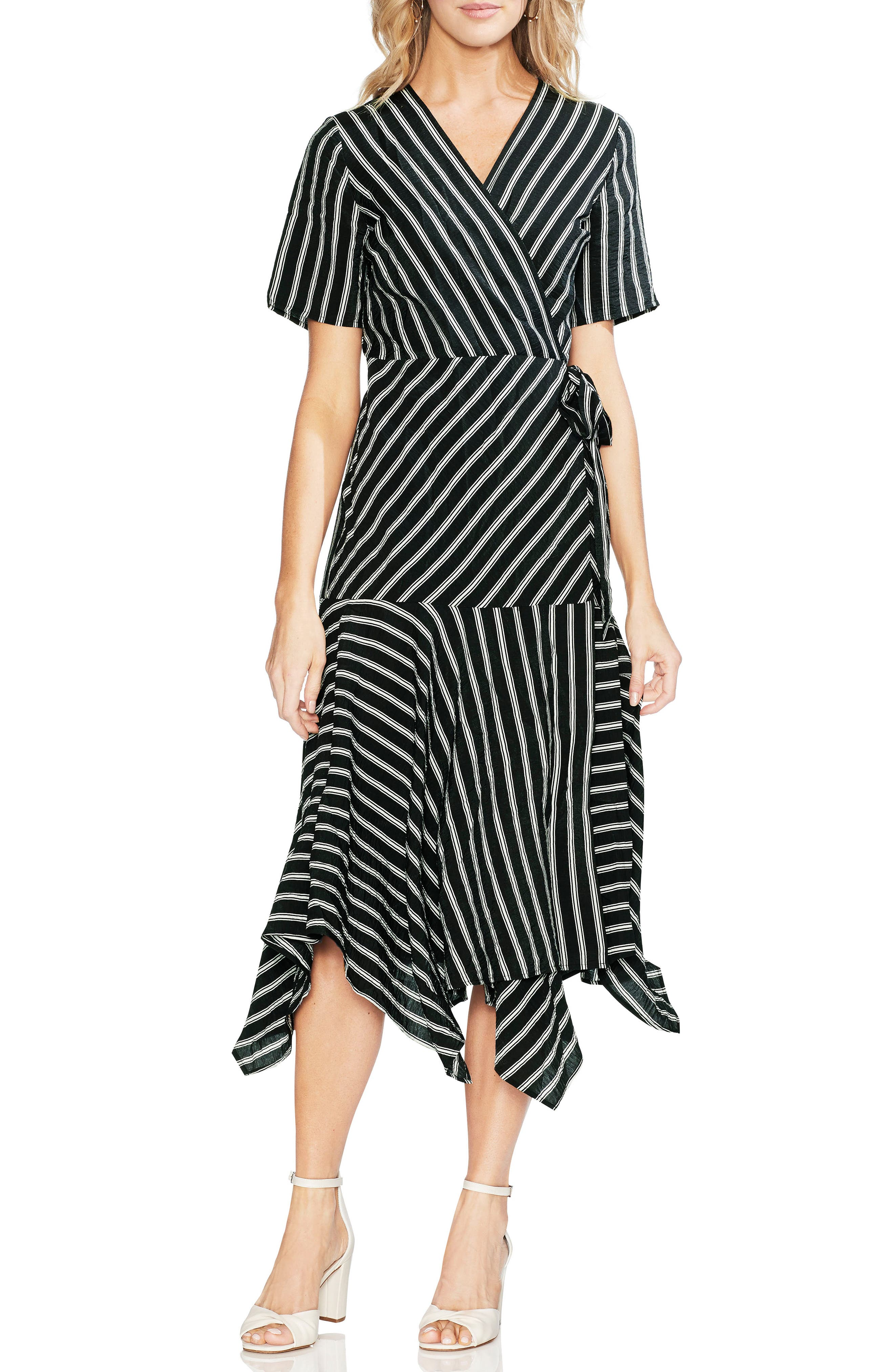 Playful Stripe Wrap Dress, Main, color, RICH BLACK