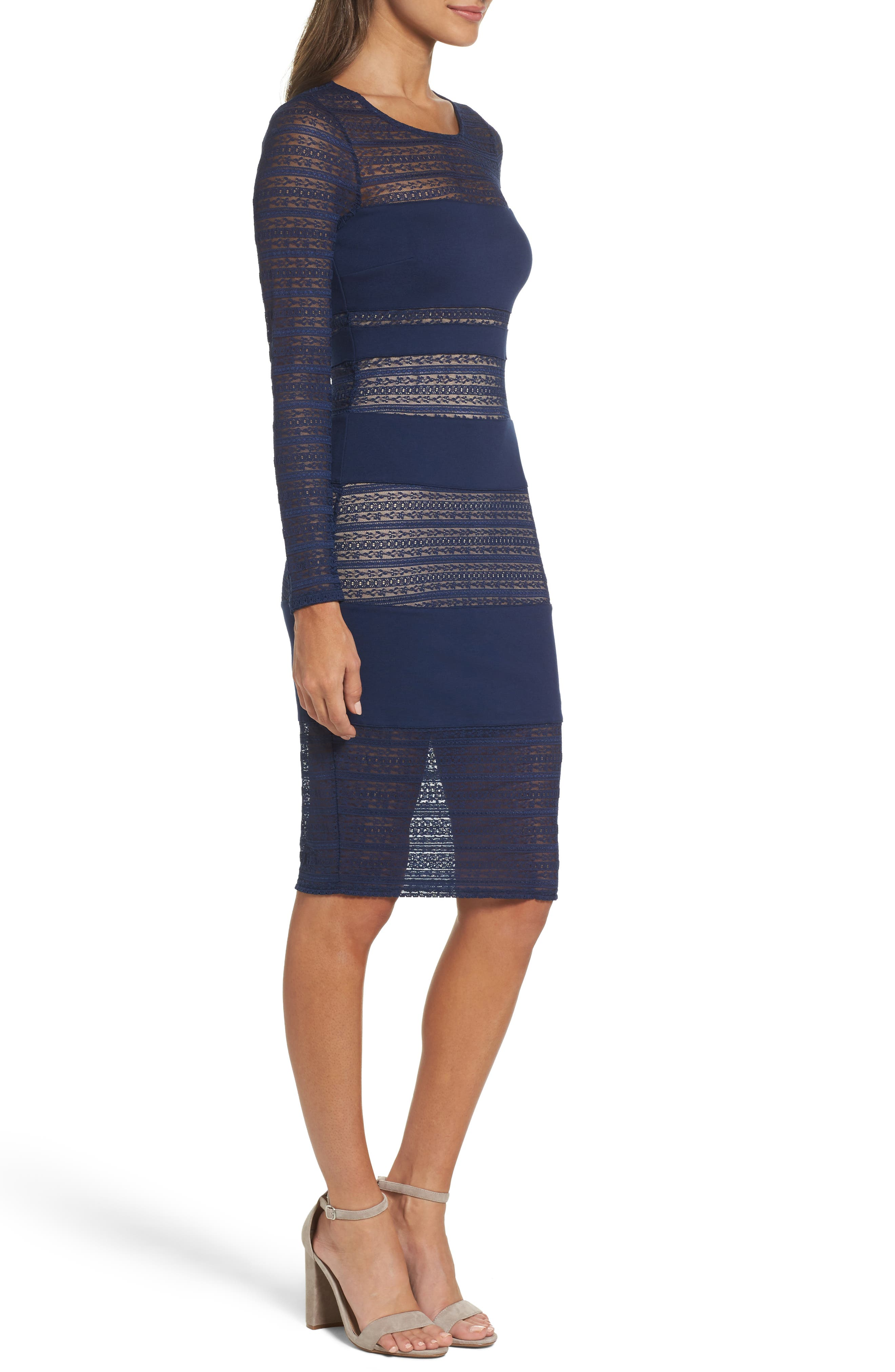 Lovestruck Stripe Body-Con Dress,                             Alternate thumbnail 3, color,                             100