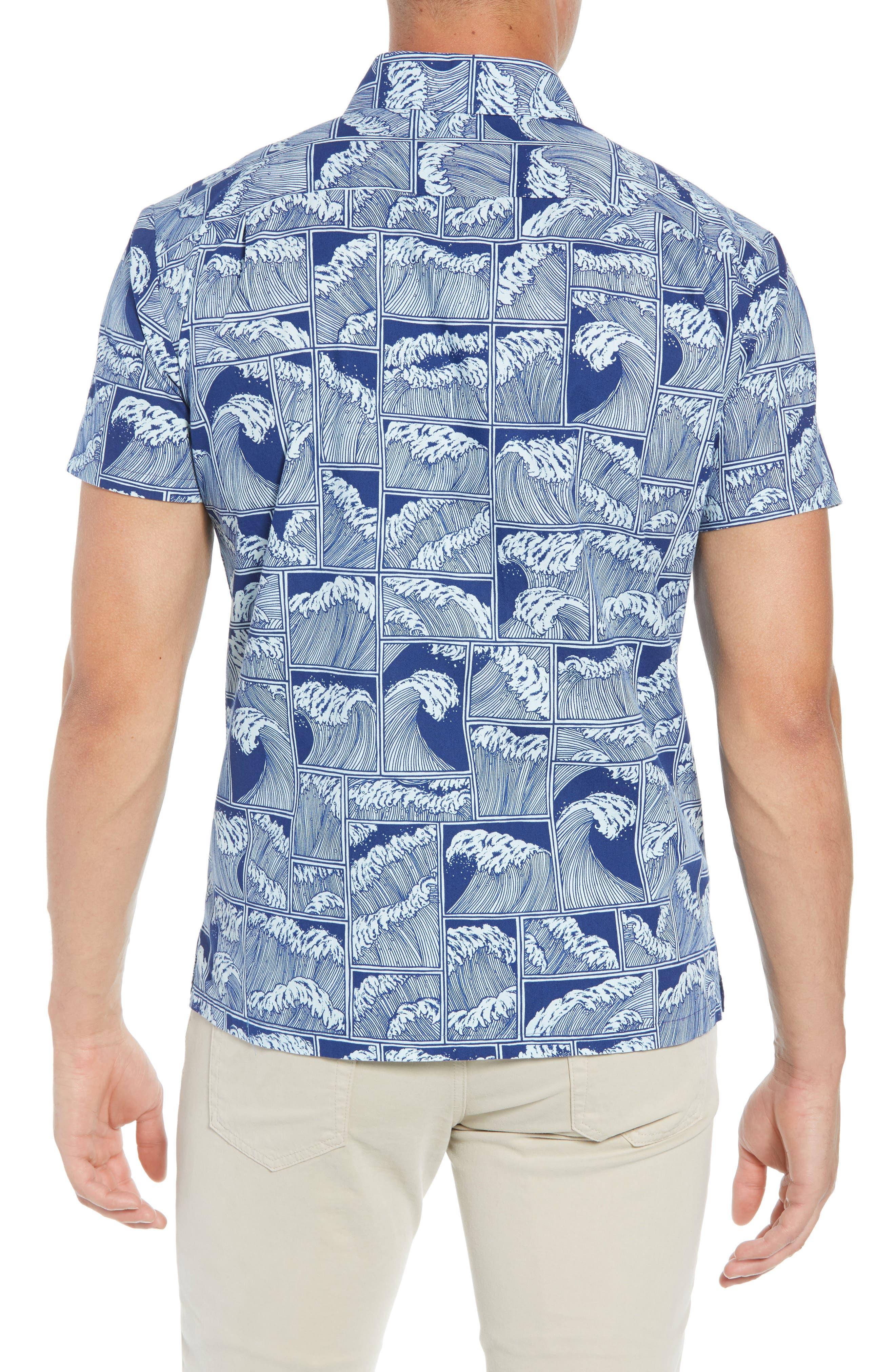 King Tide Trim Fit Sport Shirt,                             Alternate thumbnail 2, color,                             NAVY