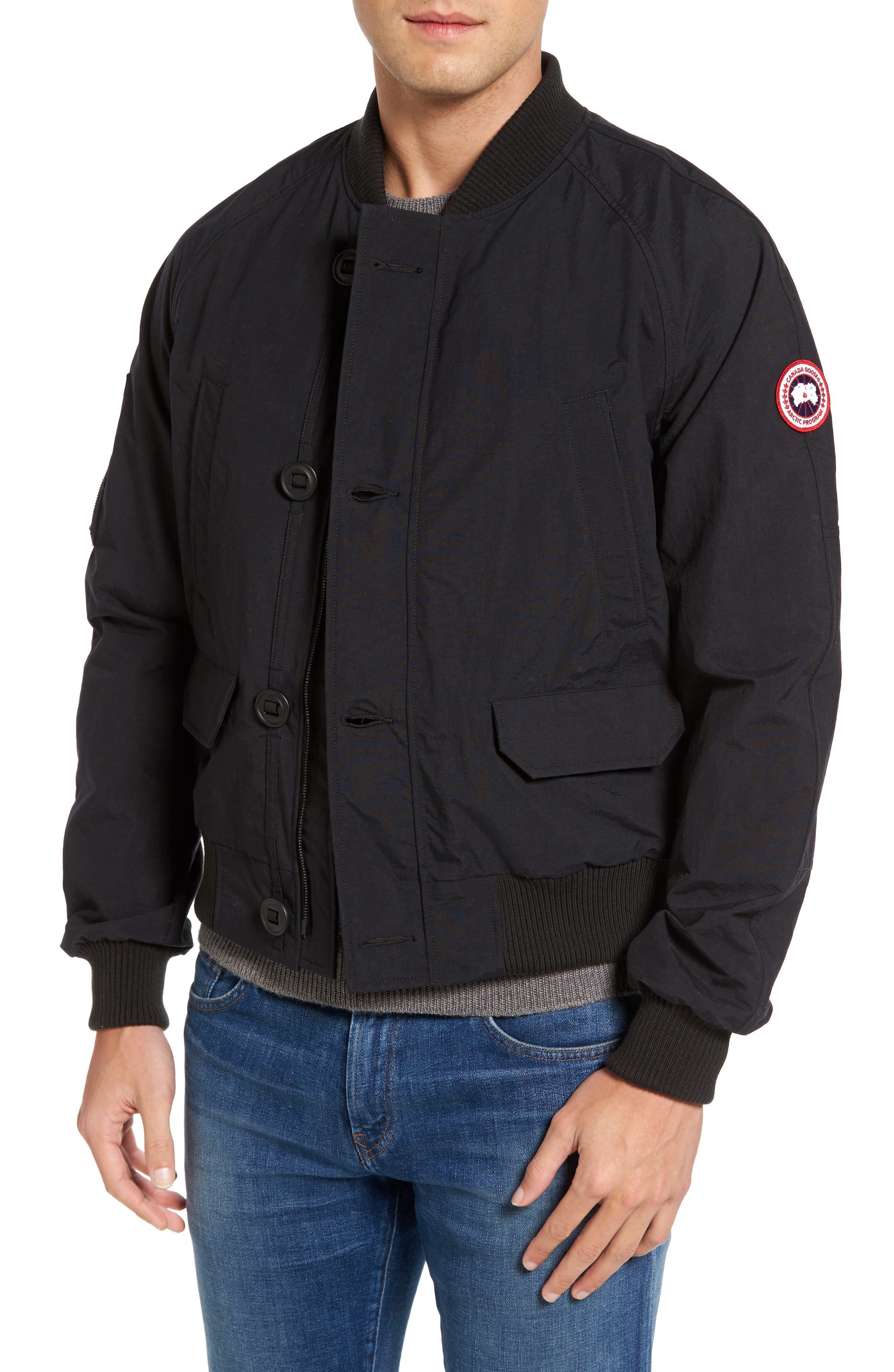 Faber Slim Fit Bomber Jacket,                         Main,                         color, BLACK