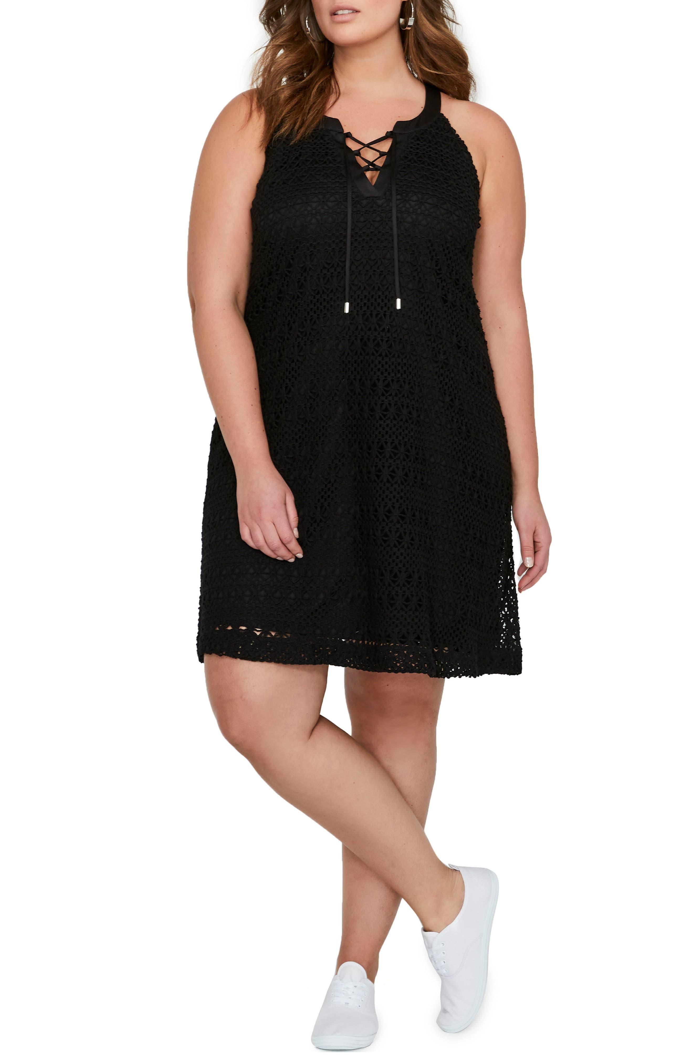 Lace-Up Crochet Dress,                             Main thumbnail 1, color,                             001