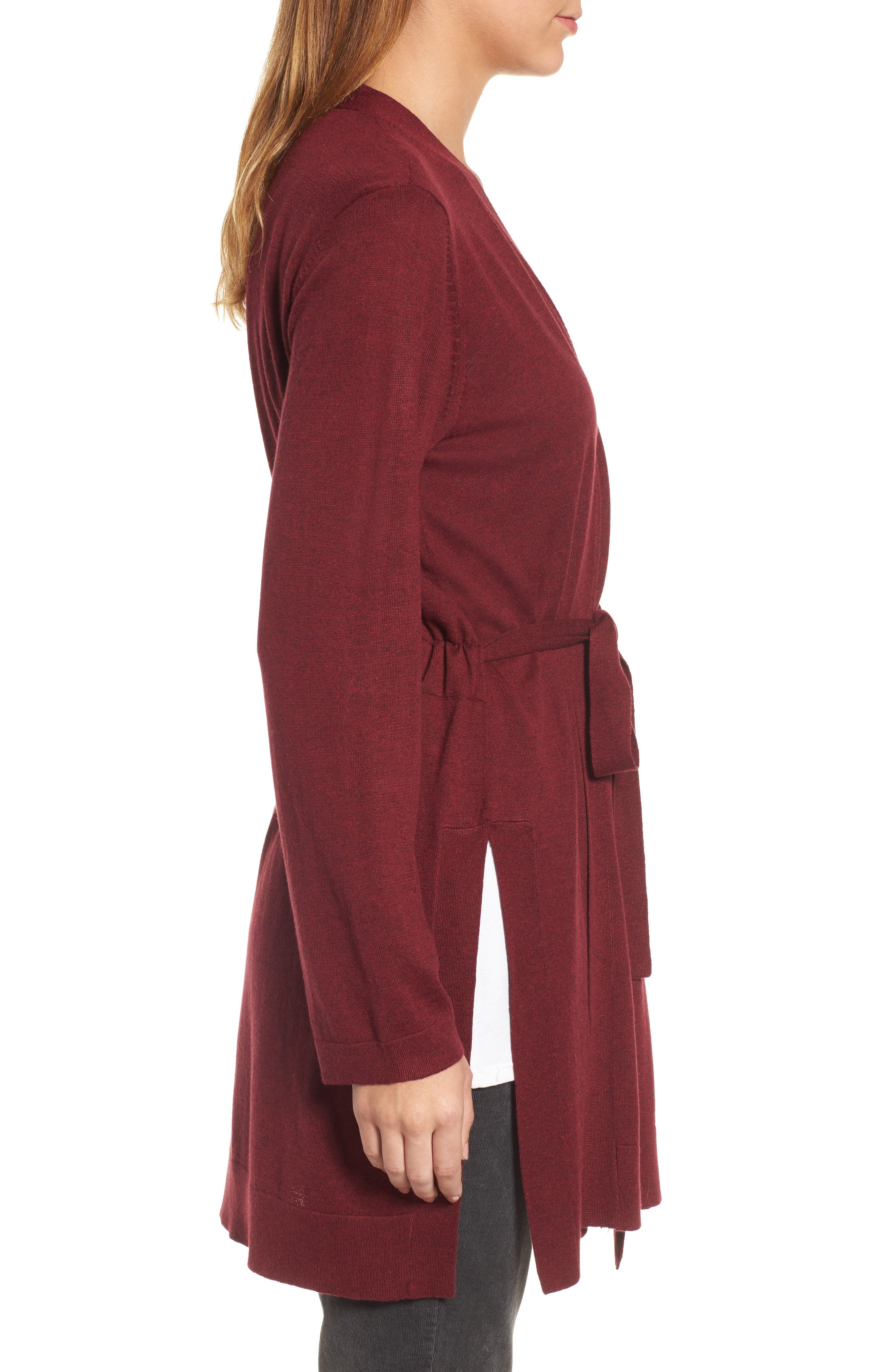 Tie Waist Tencel<sup>®</sup> Lyocell Blend Cardigan,                             Alternate thumbnail 18, color,