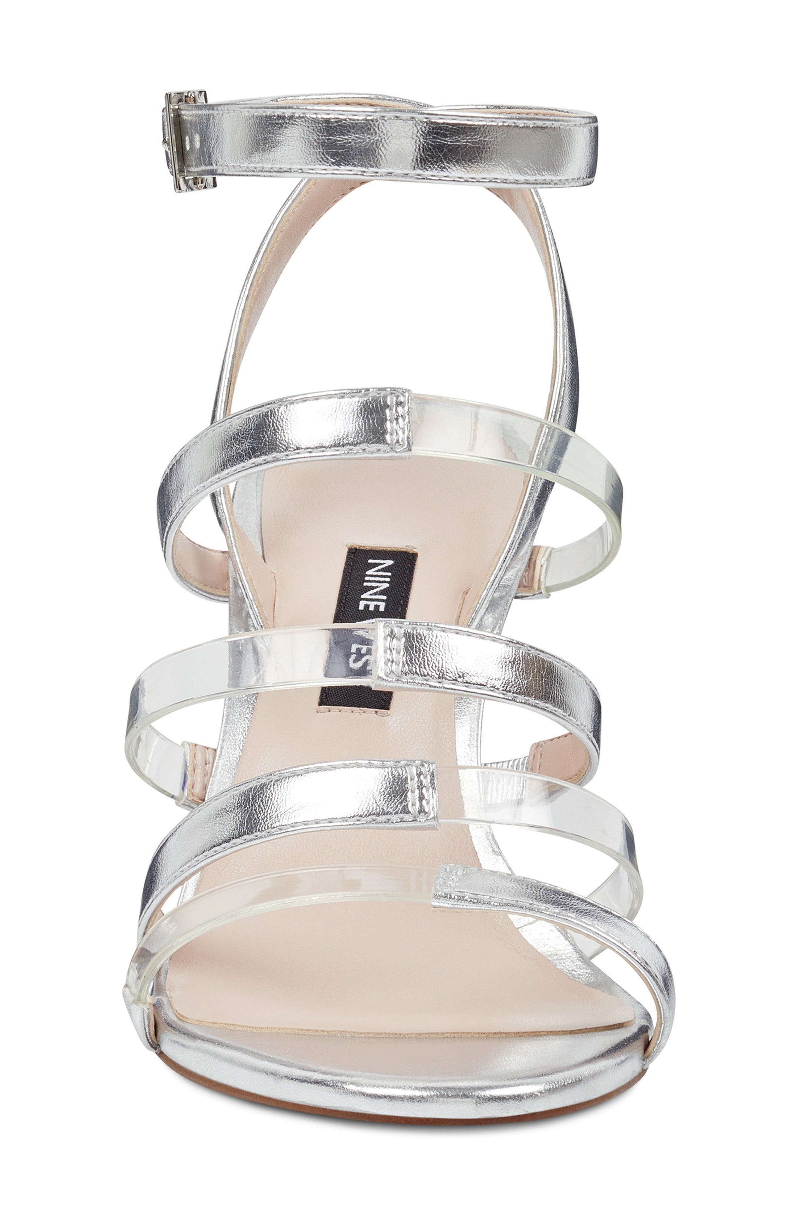Fazzani Cage Sandal,                             Alternate thumbnail 4, color,                             CLEAR/ SILVER FAUX LEATHER