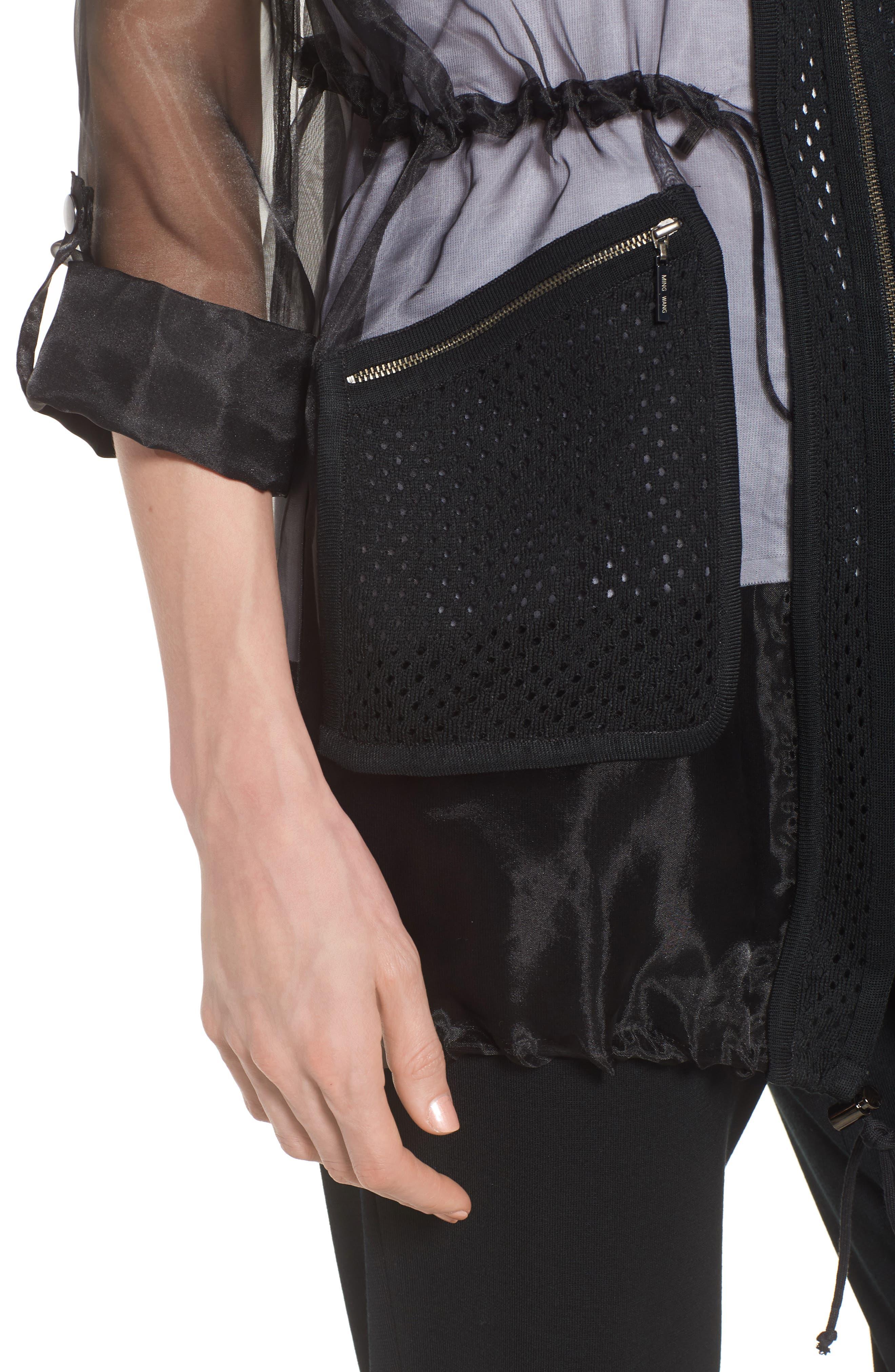 Sheer Jacket,                             Alternate thumbnail 4, color,                             BLACK