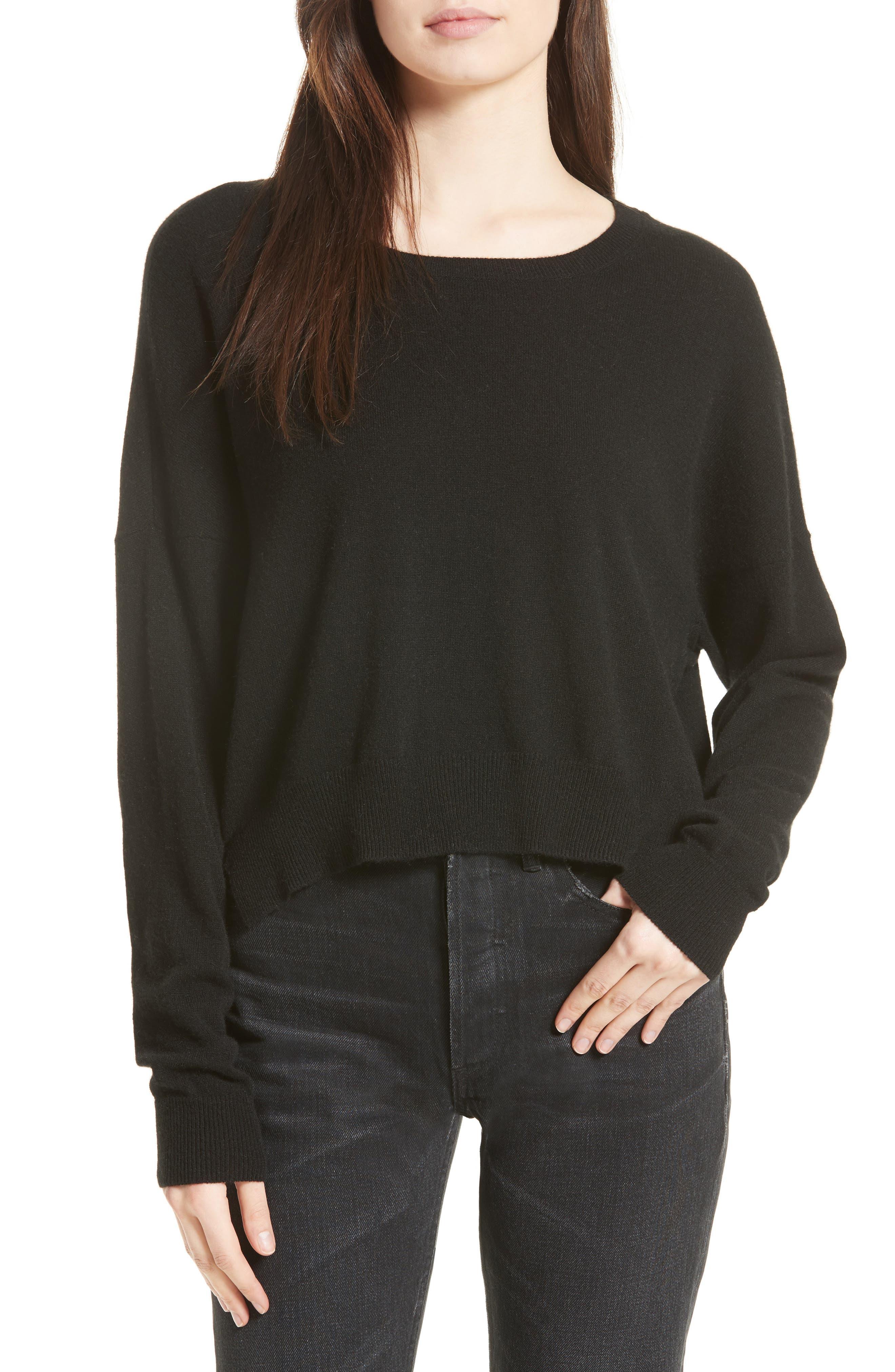 Crop Cashmere Sweater,                             Main thumbnail 1, color,                             001