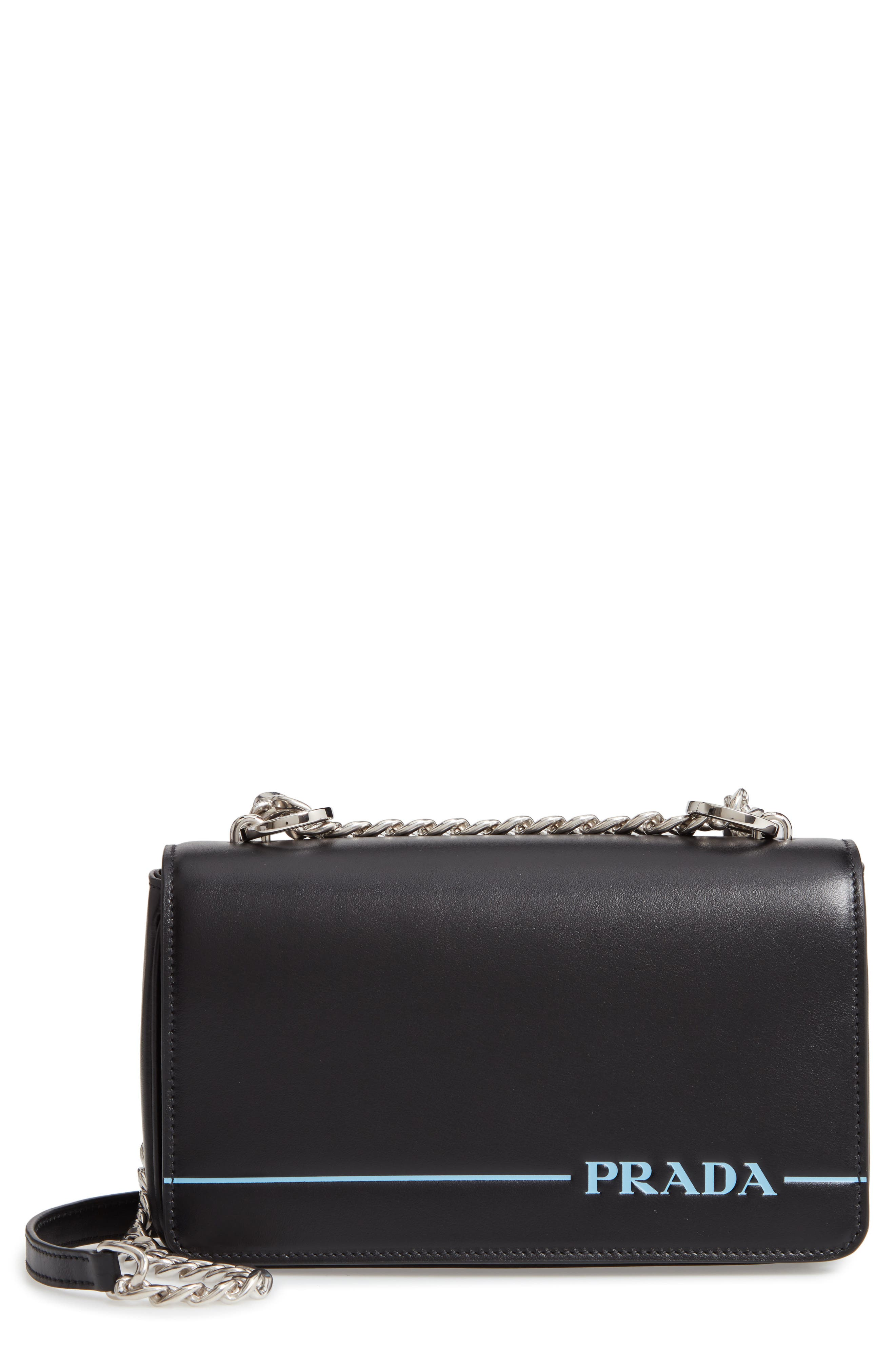 Flap Leather Crossbody Bag with Stripe,                         Main,                         color, NERO