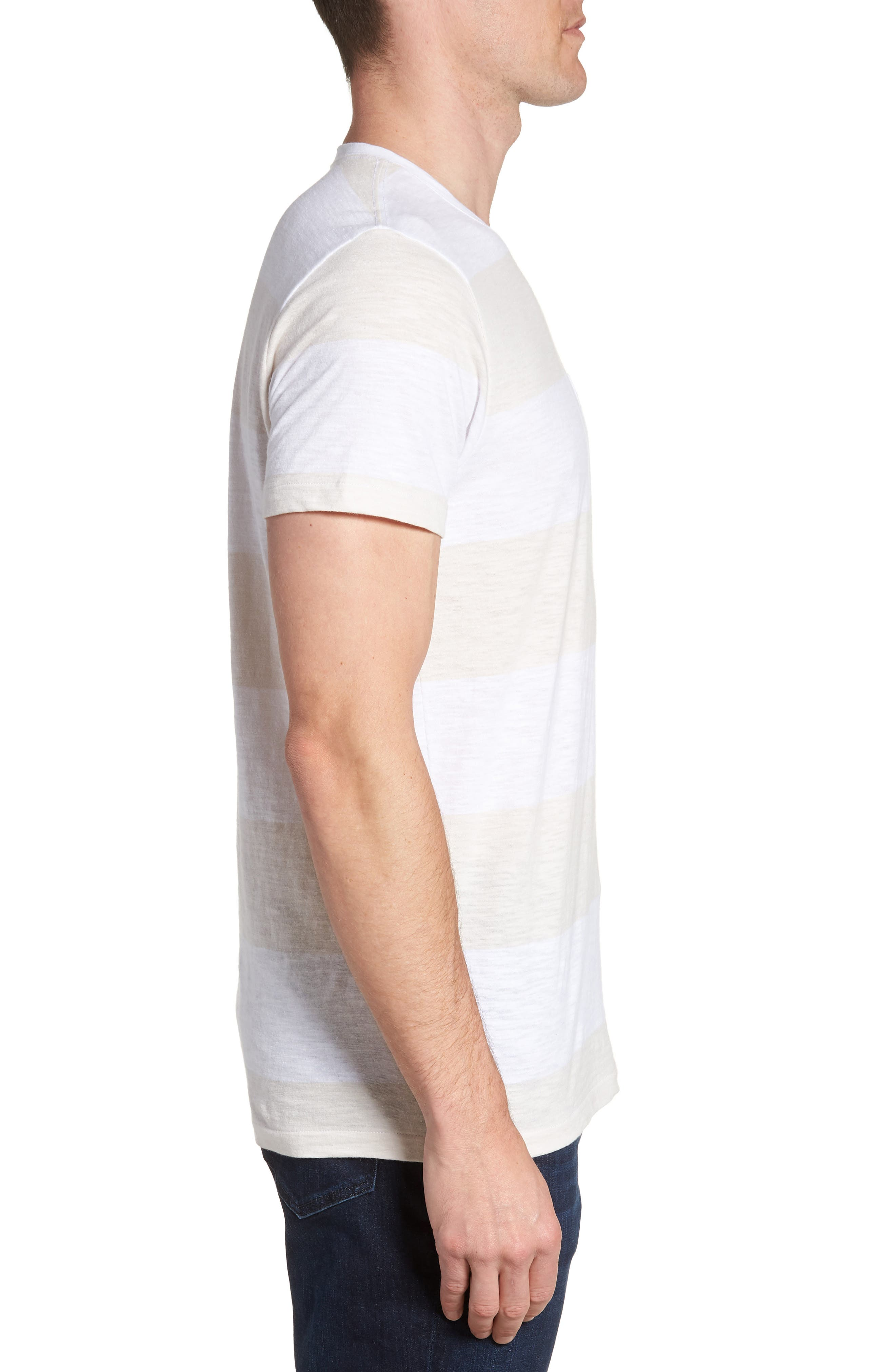 Block Stripe Slim Fit Pocket T-Shirt,                             Alternate thumbnail 3, color,                             100