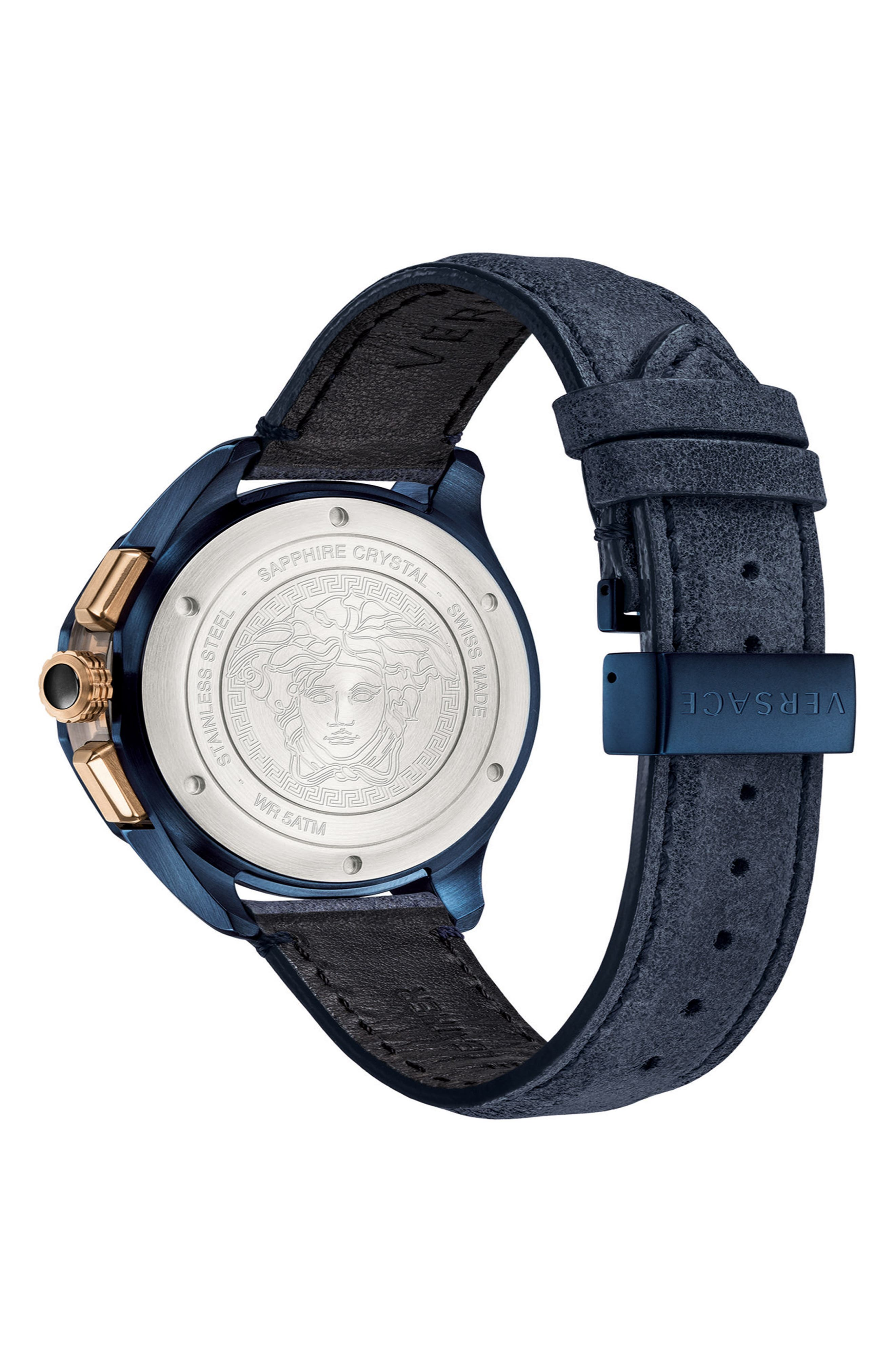 VERSACE,                             Glaze Chronograph Leather Strap Watch, 44mm,                             Alternate thumbnail 2, color,                             BLUE