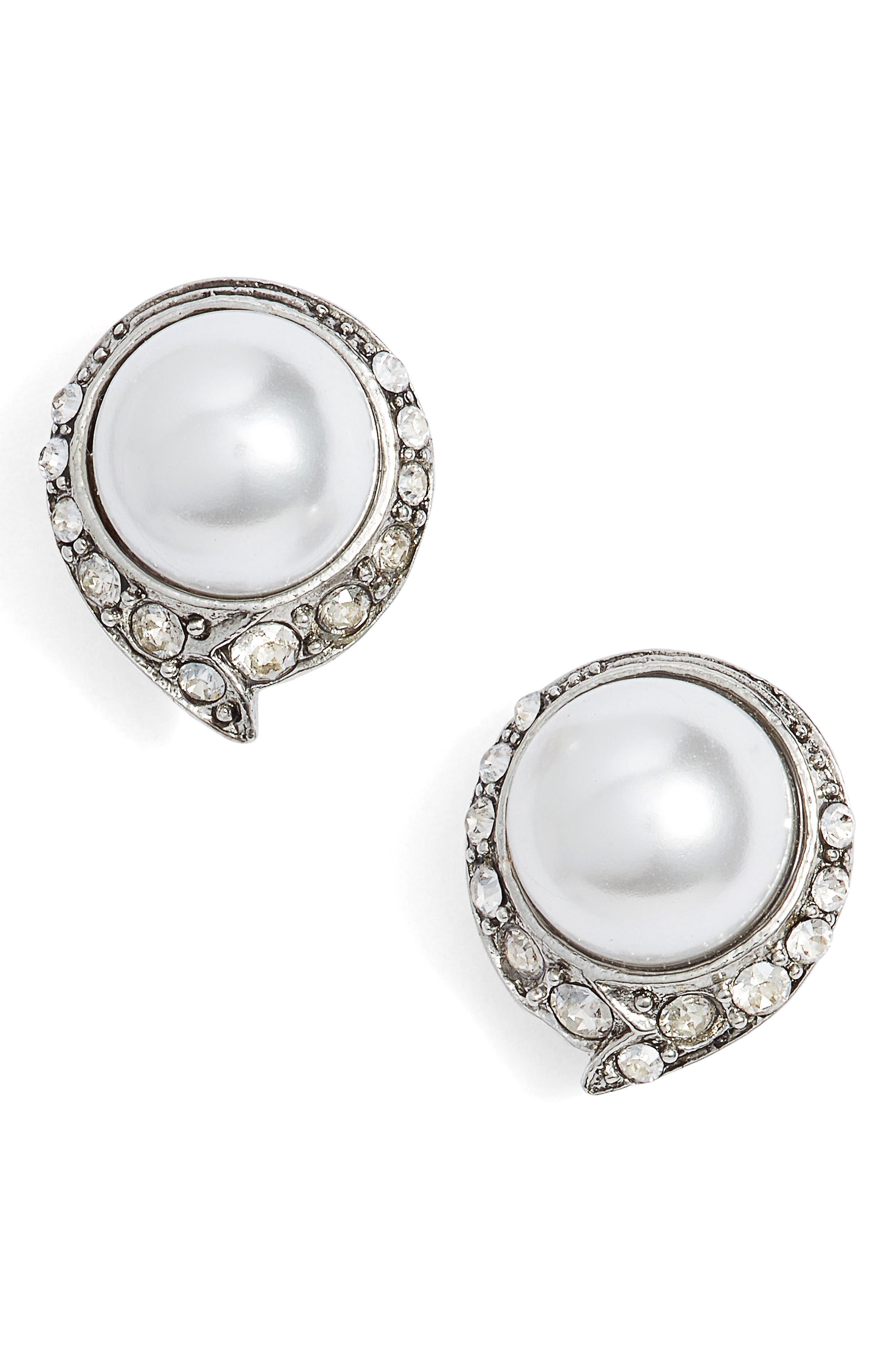 Simulated Pearl Stud Earrings,                             Main thumbnail 1, color,                             040