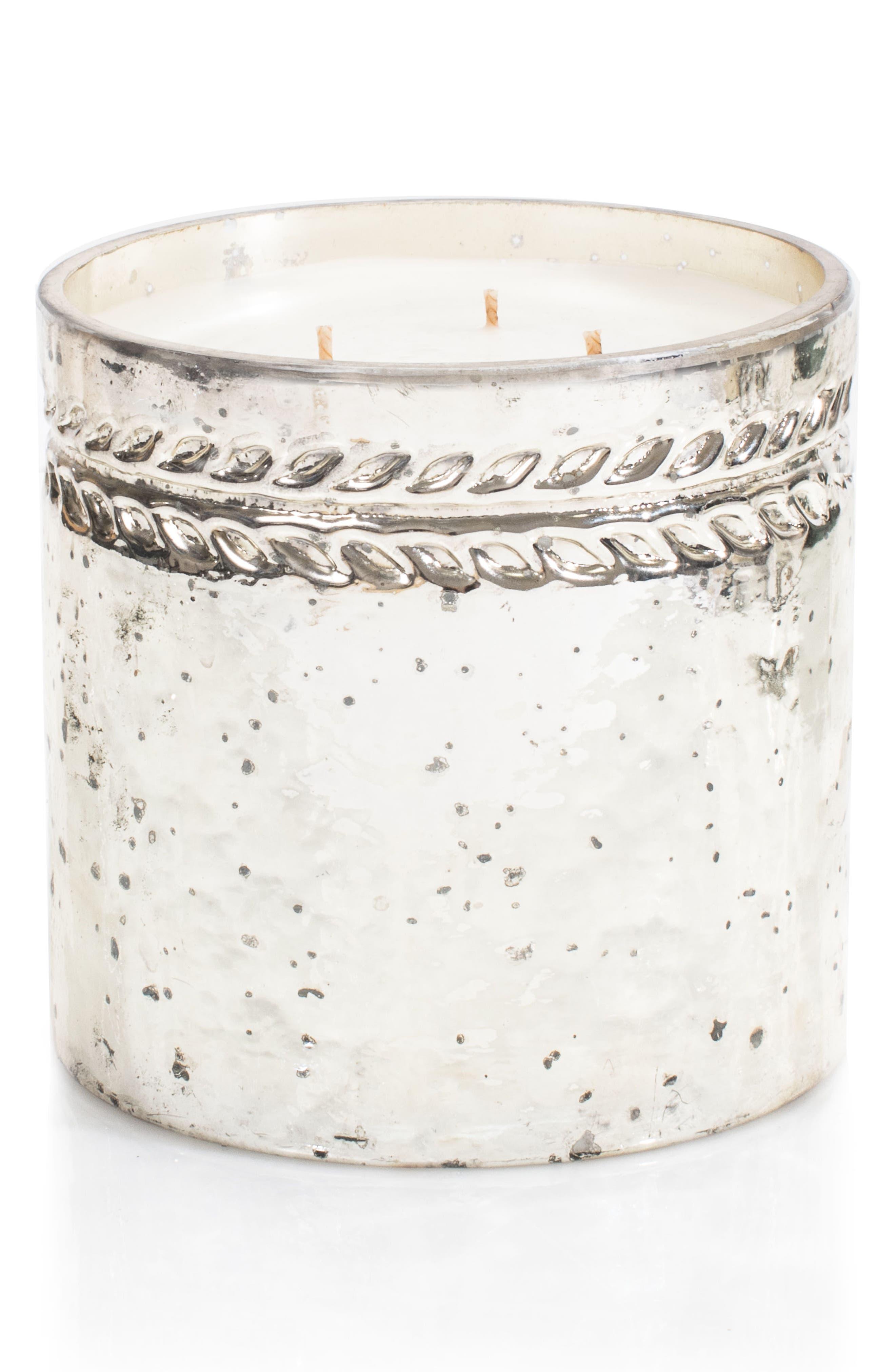 Silver Cedar Three-Wick Candle,                             Main thumbnail 1, color,                             000