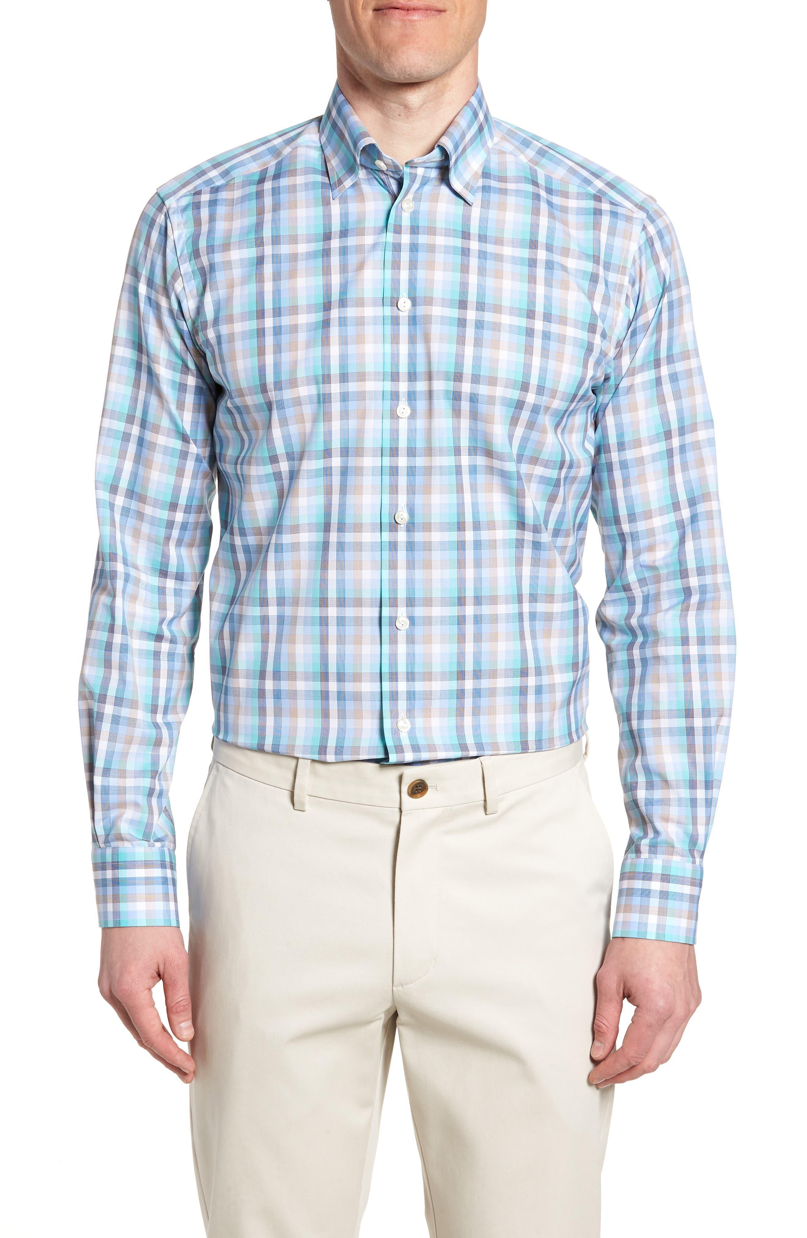 Contemporary Fit Plaid Dress Shirt,                             Main thumbnail 1, color,                             BLUE