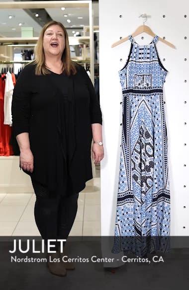 Scarf Print Halter Neck Maxi Dress, sales video thumbnail
