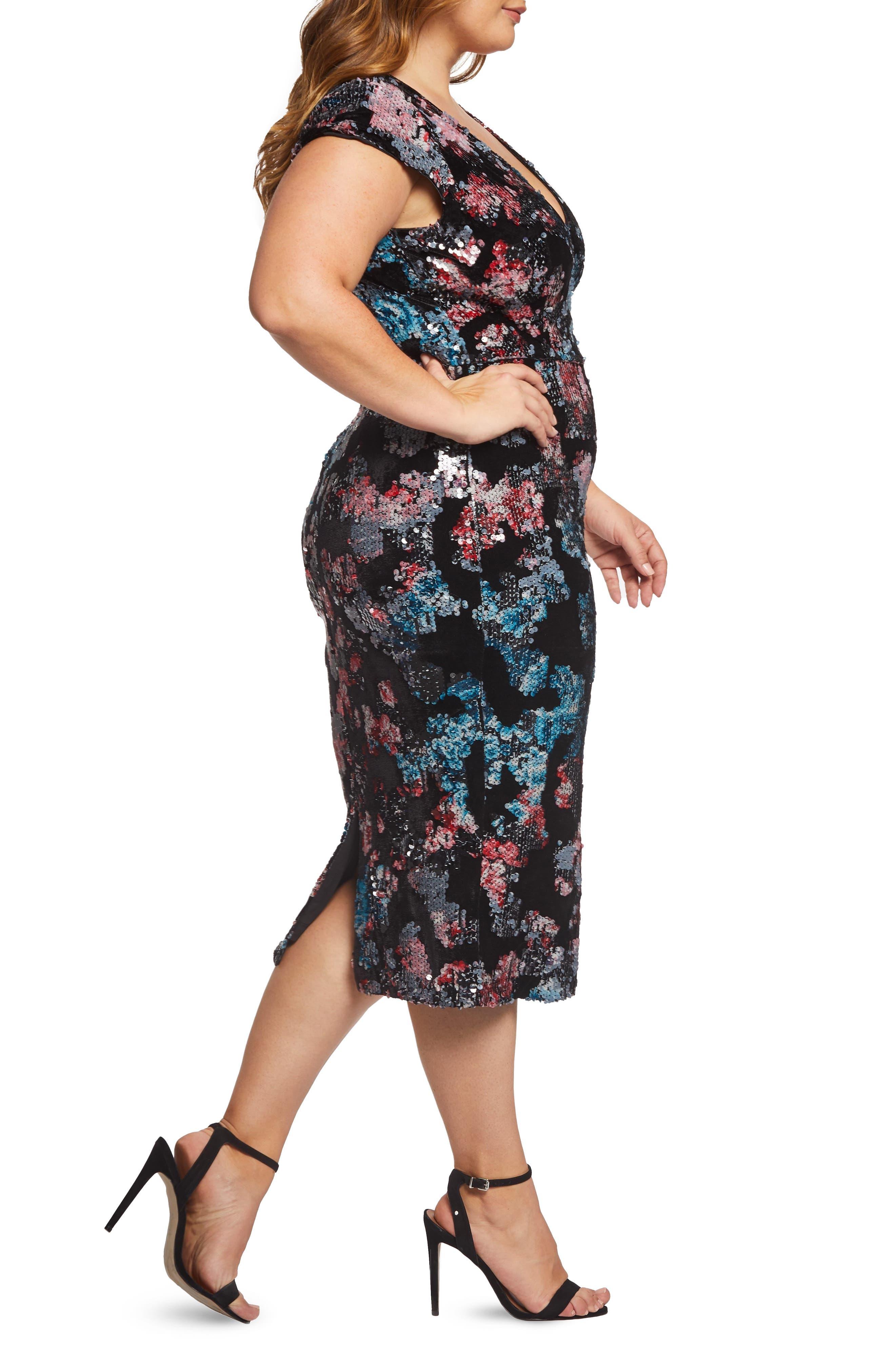 Allison Sequin & Velvet Midi Dress,                             Alternate thumbnail 3, color,                             BLACK MULTI