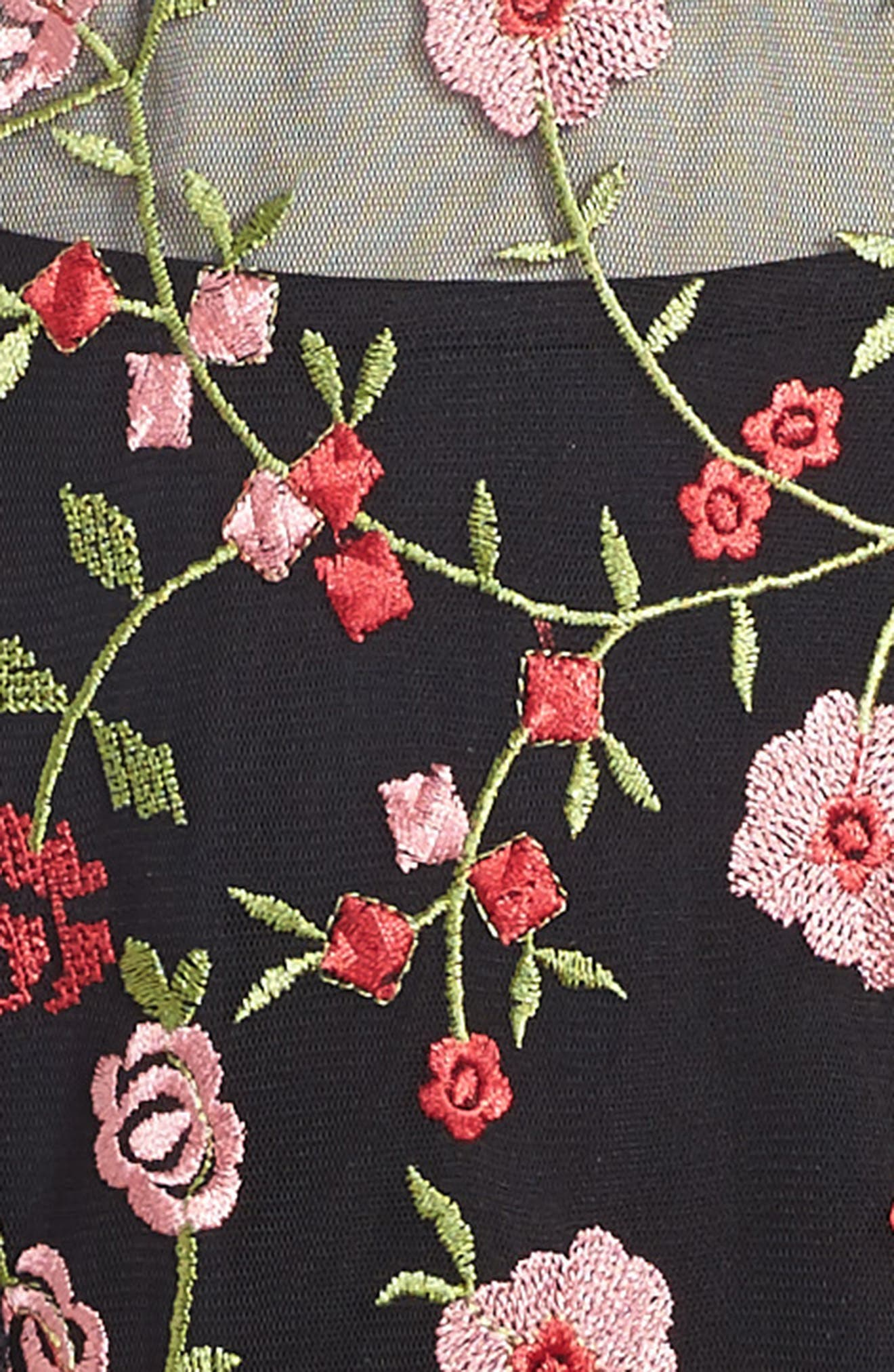 Floral Embroidered Shift Dress,                             Alternate thumbnail 3, color,                             006