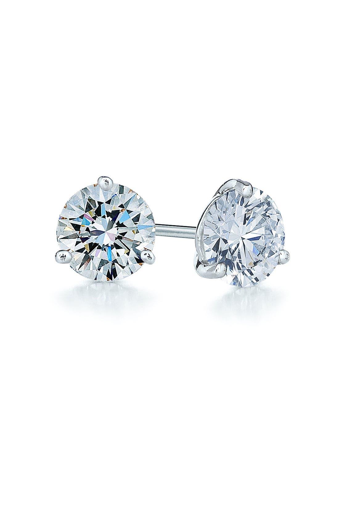 1ct tw Diamond & Platinum Stud Earrings,                             Main thumbnail 1, color,                             PLATINUM
