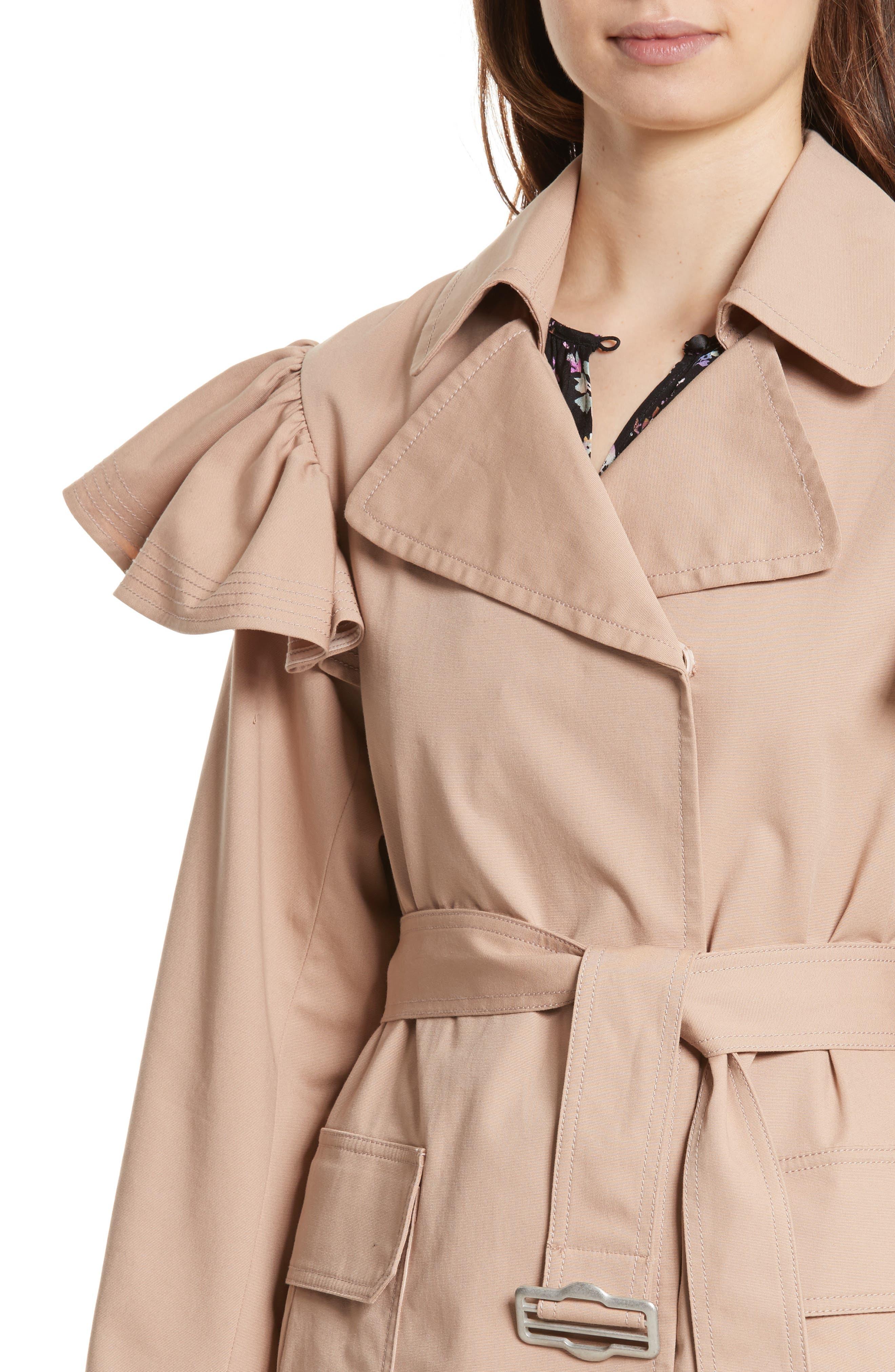 Ruffle Trim Trench Coat,                             Alternate thumbnail 4, color,                             285