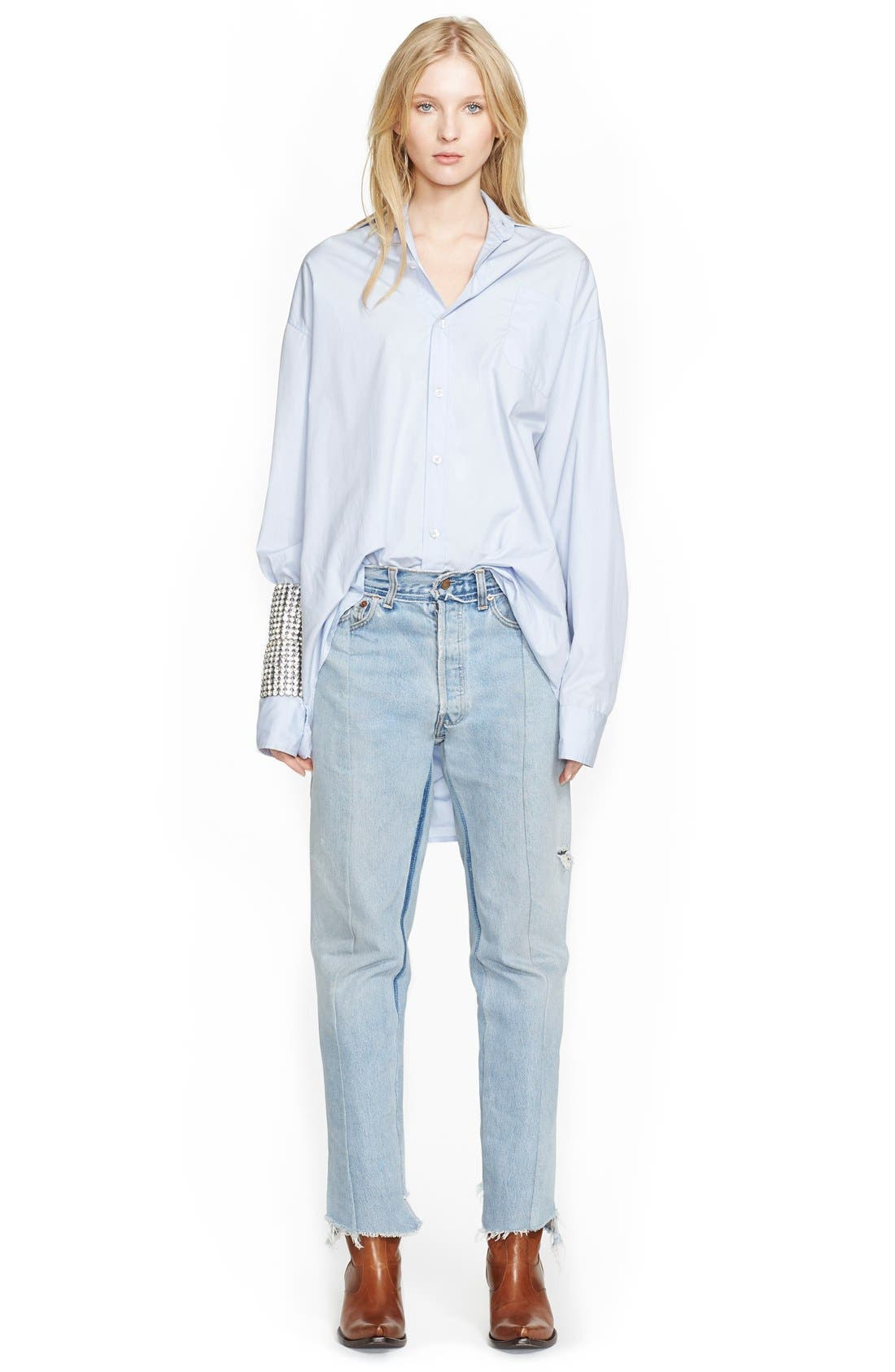 Deconstructed Crop Jeans,                             Alternate thumbnail 4, color,                             400
