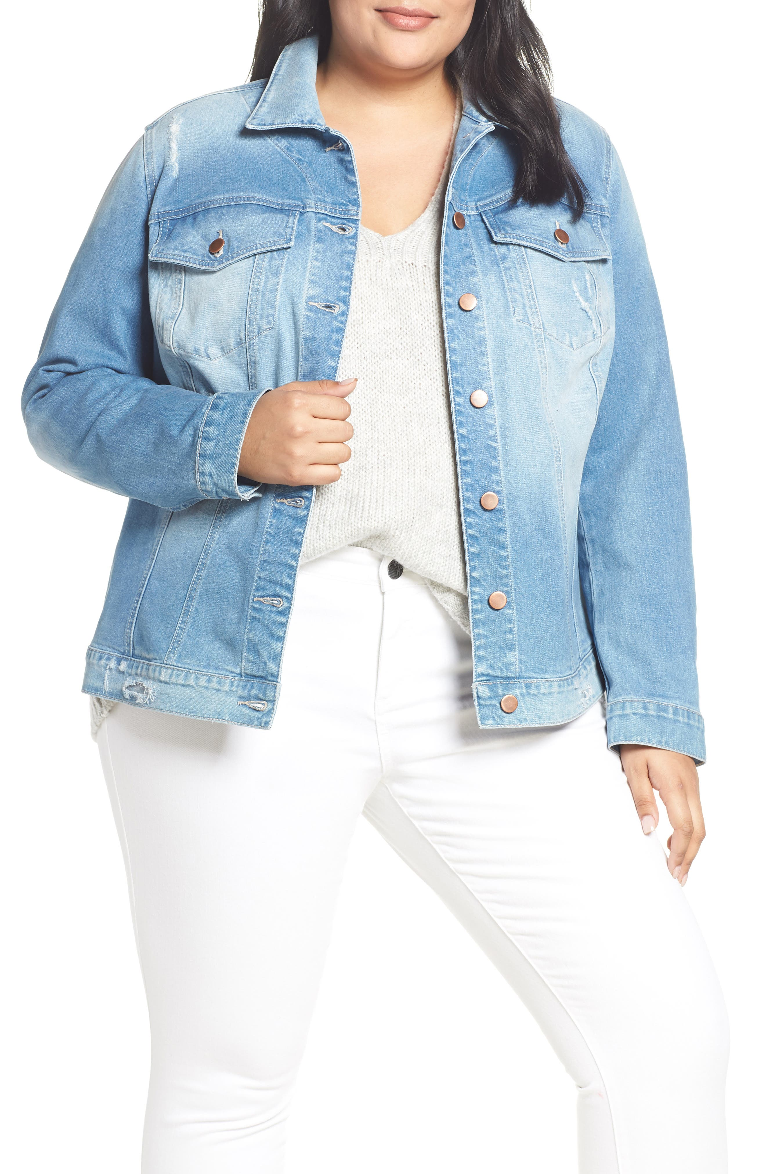 KUT FROM THE KLOTH Lily Basic Denim Jacket, Main, color, ADORN