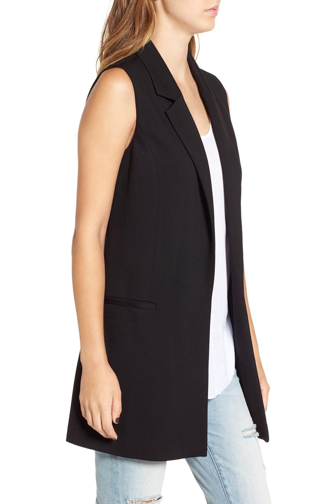 Stretch Ponte Long Vest,                             Alternate thumbnail 4, color,                             001