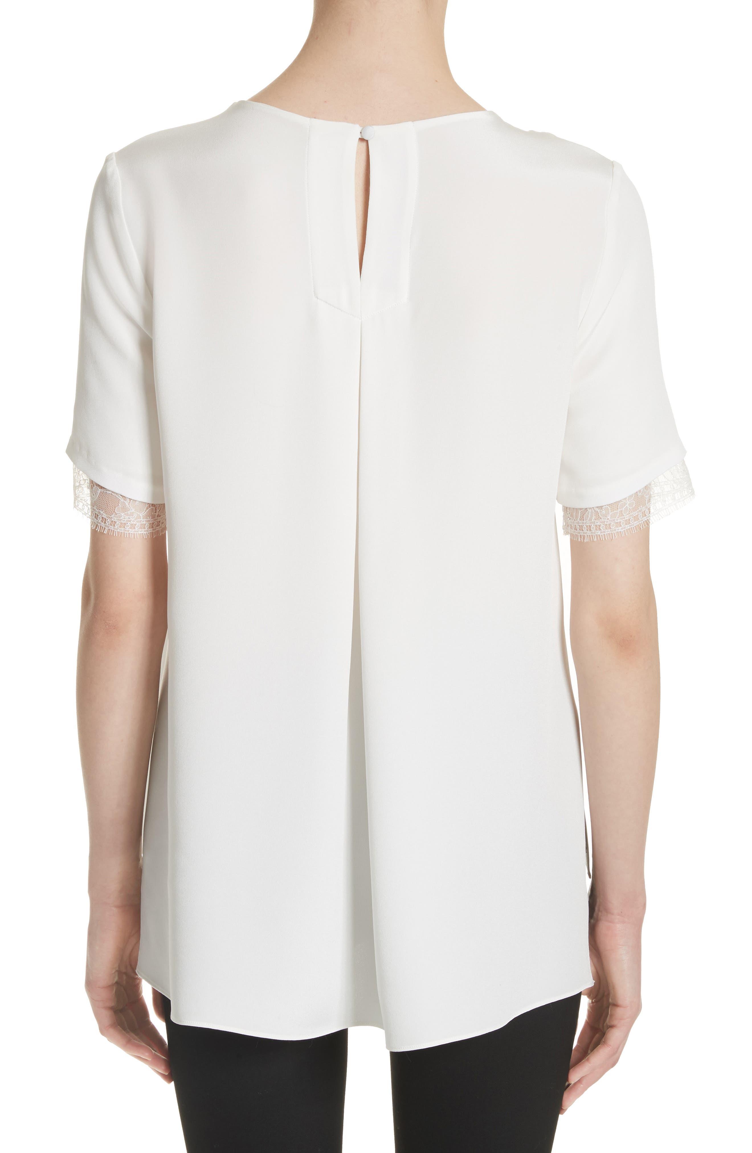 Lace Trim Silk Crepe Blouse,                             Alternate thumbnail 2, color,                             903