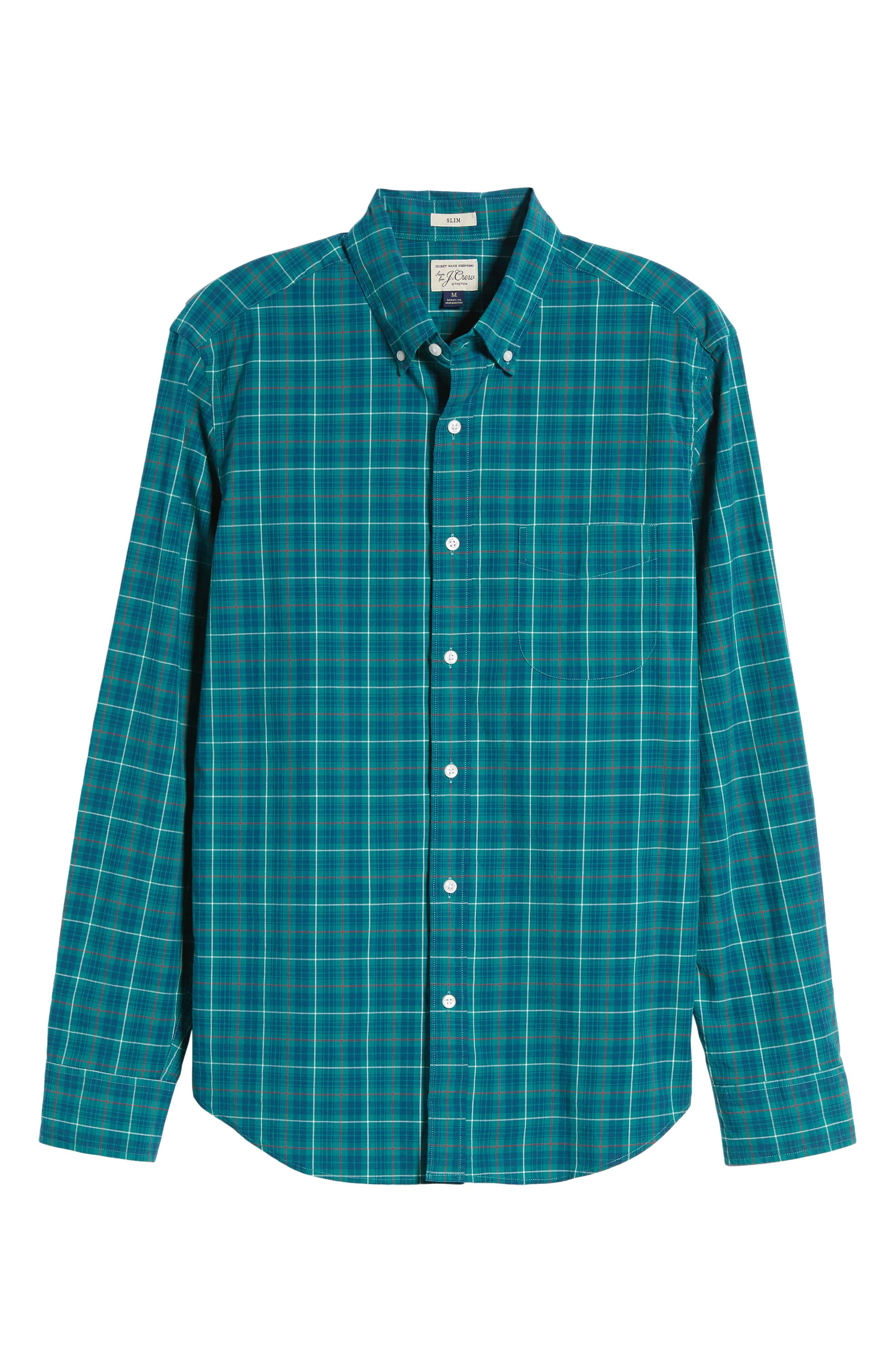 Slim Fit Stretch Secret Wash Plaid Sport Shirt,                             Alternate thumbnail 6, color,