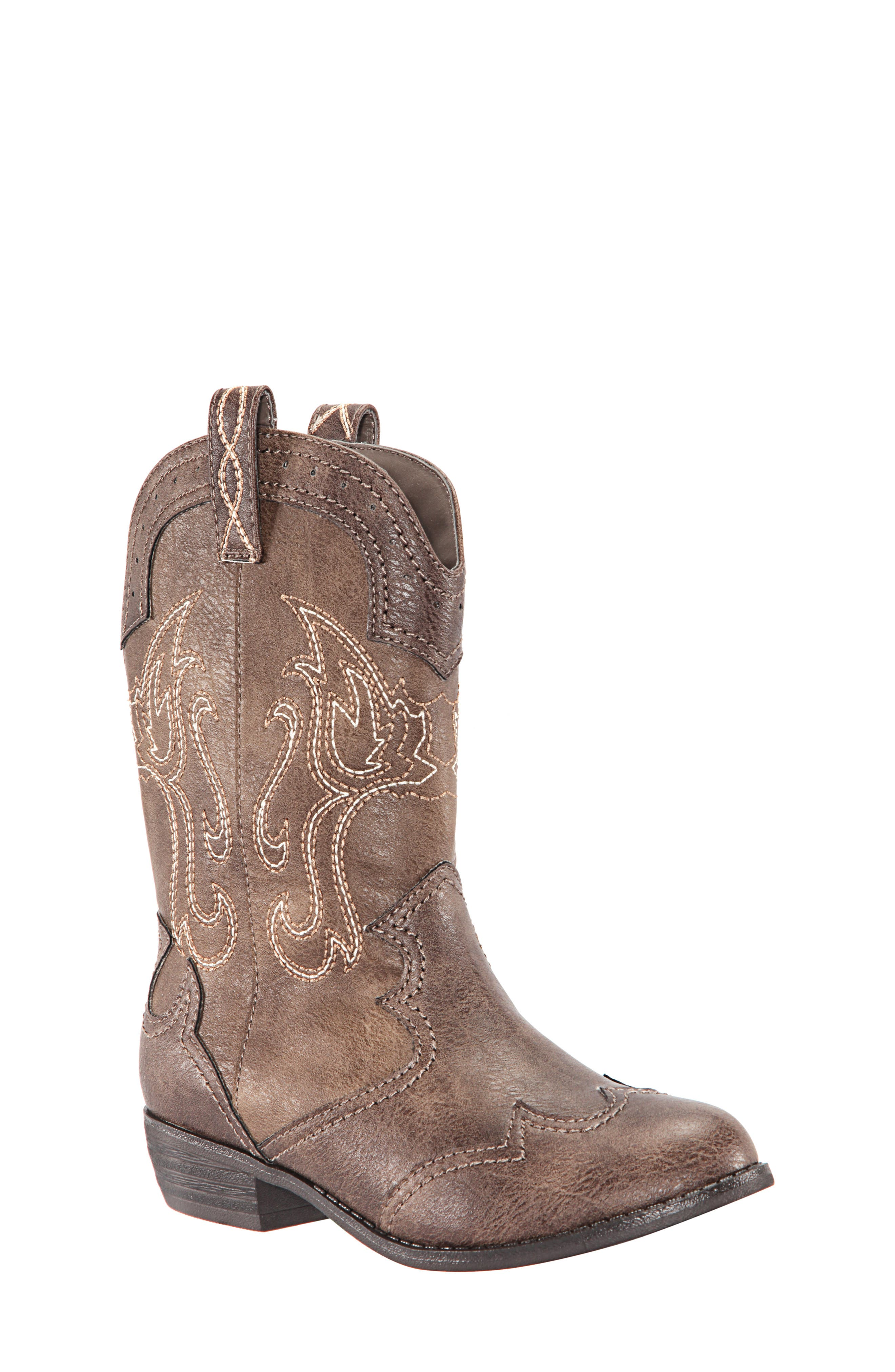 Beti Western Boot,                         Main,                         color, BROWN DISTRESSED