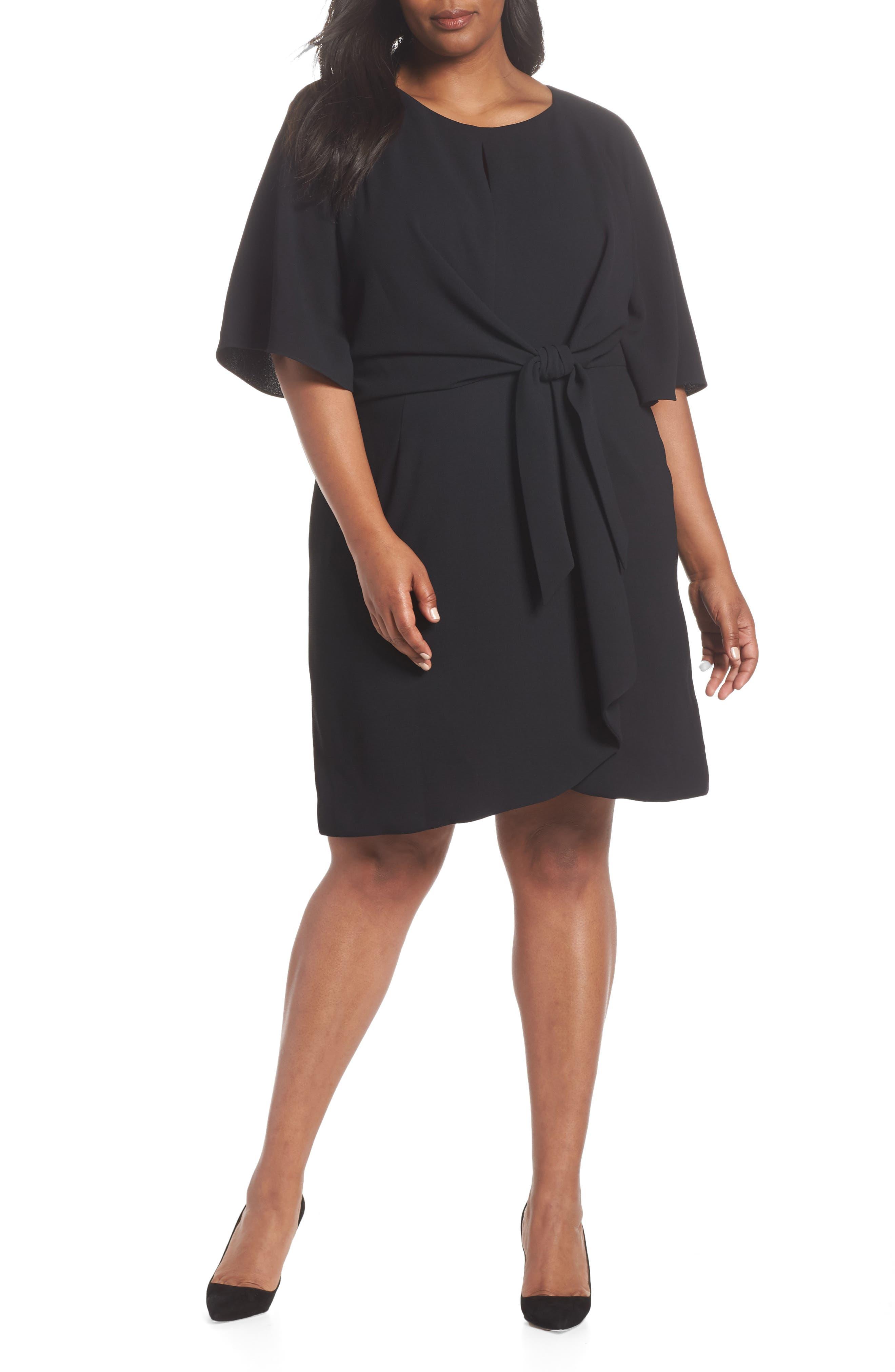 Tie Front Crepe Shift Dress,                             Main thumbnail 1, color,                             BLACK