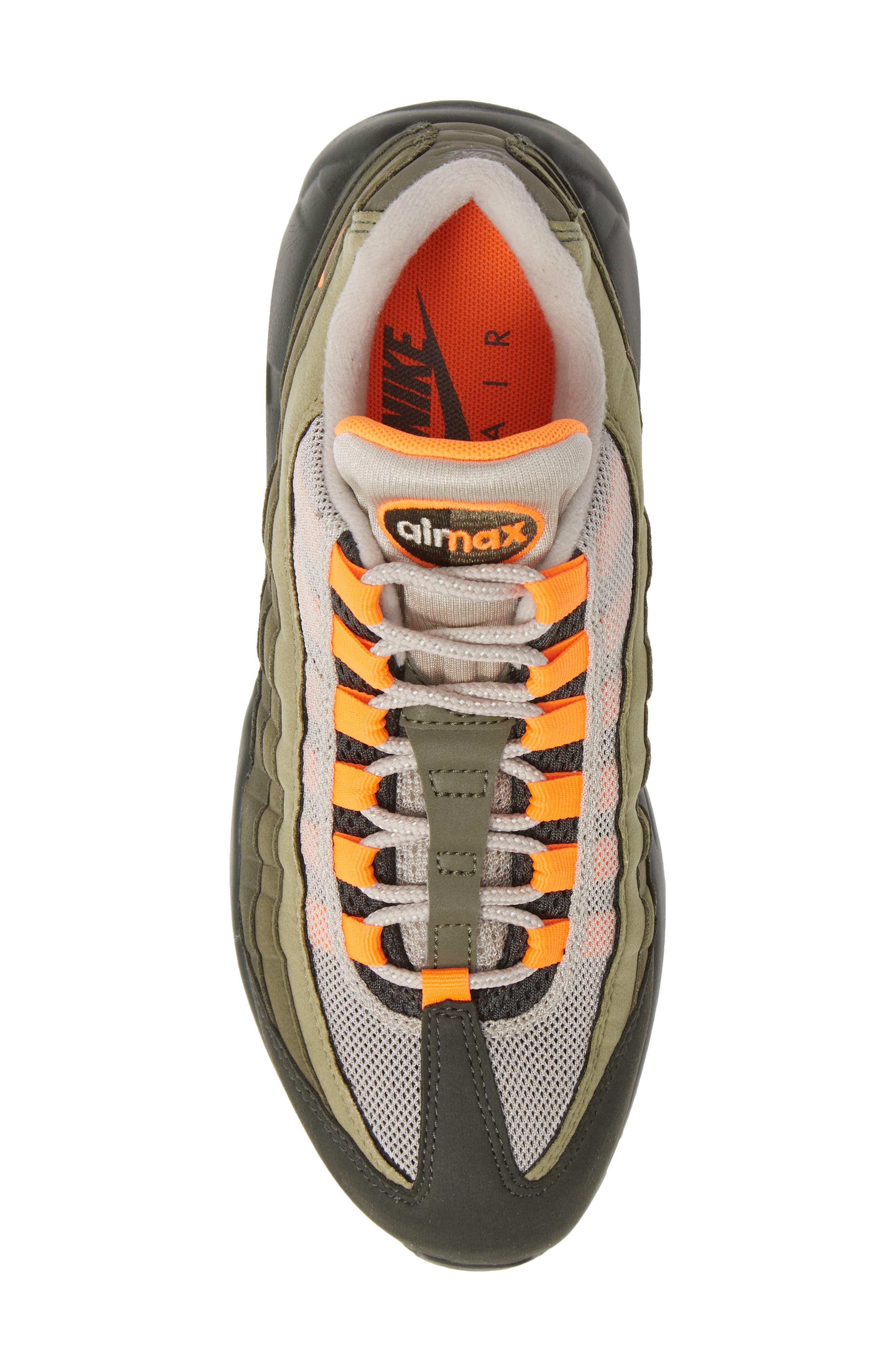 Air Max 95 OG Sneaker,                             Alternate thumbnail 5, color,                             STRING/ TOTAL ORANGE-NEUTRAL