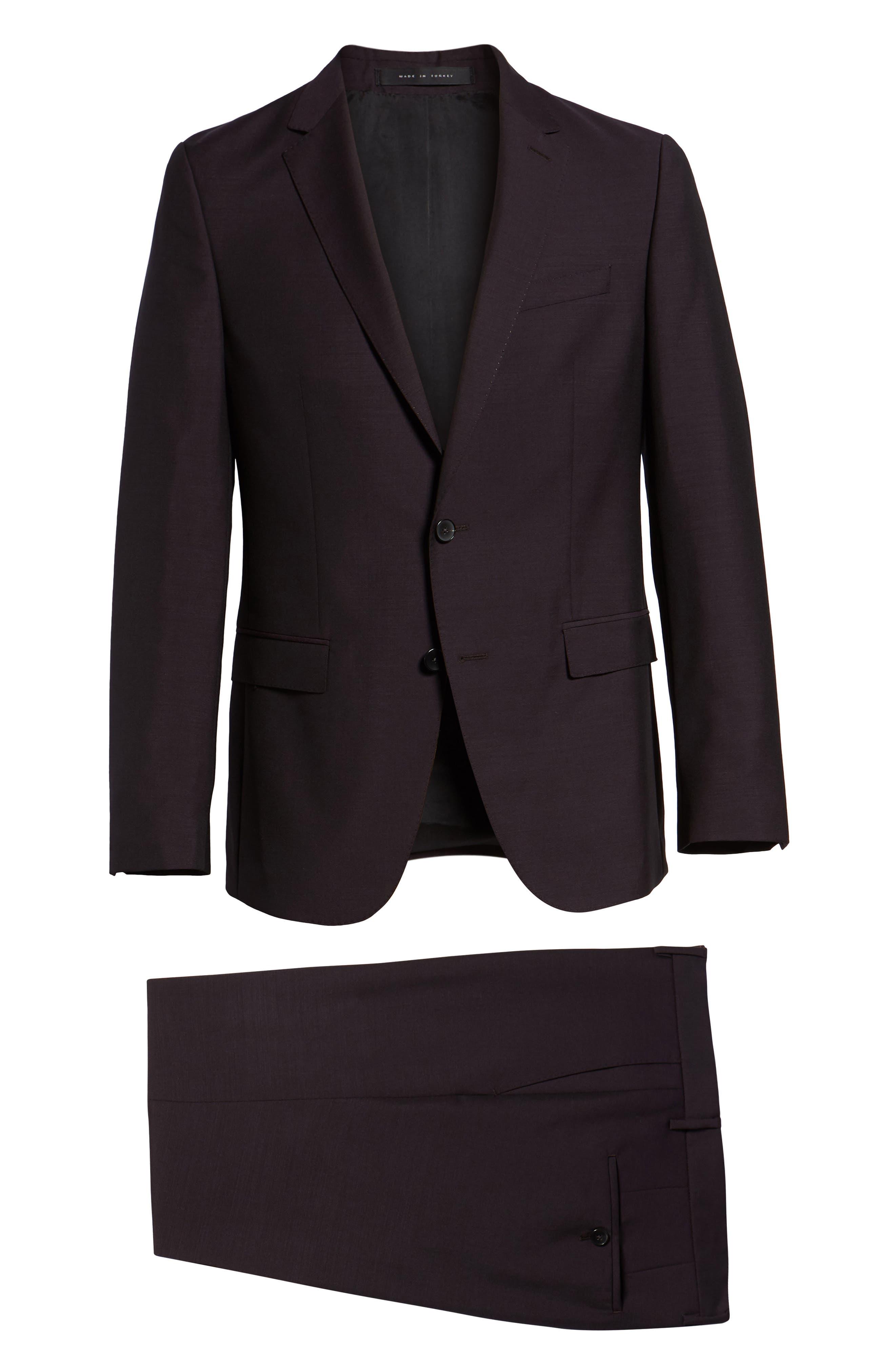Novan/Ben Trim Fit Solid Wool & Mohair Suit,                             Alternate thumbnail 8, color,                             DARK PURPLE