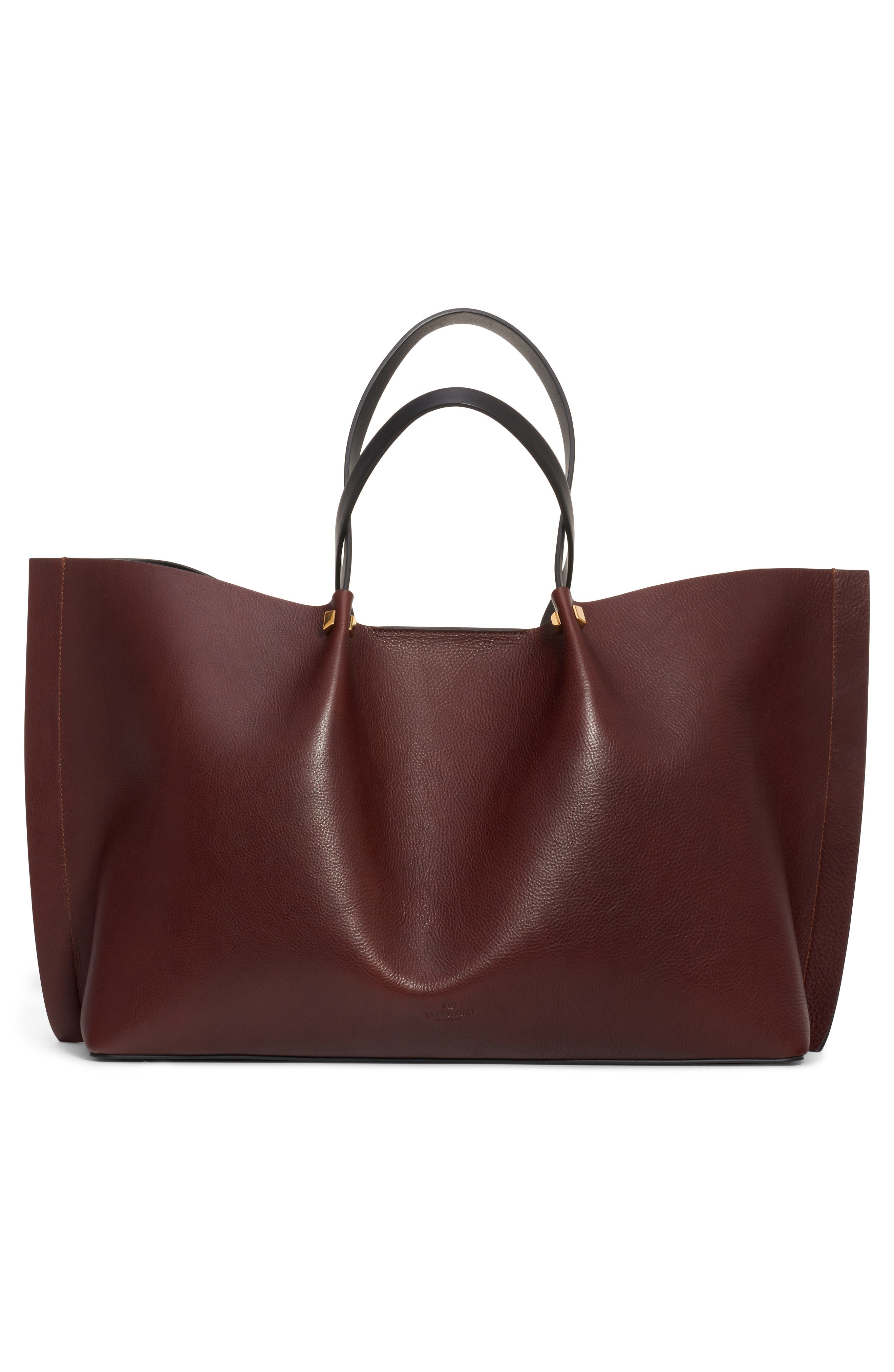 Large Go Logo Leather Tote,                             Alternate thumbnail 2, color,                             MORO/ NERO/ ROUGE PUR