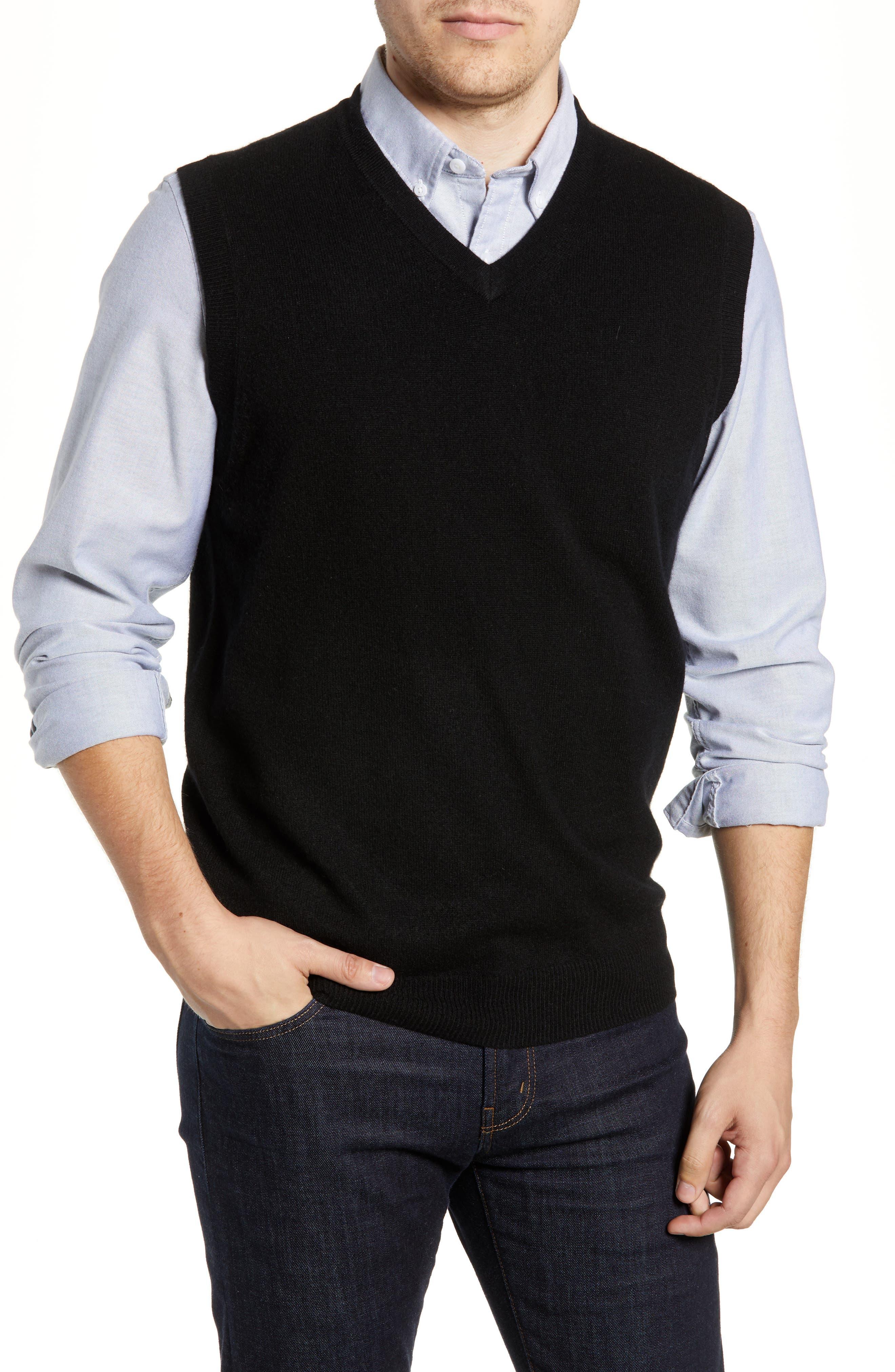 Cashmere V-Neck Sweater Vest,                         Main,                         color, BLACK CAVIAR