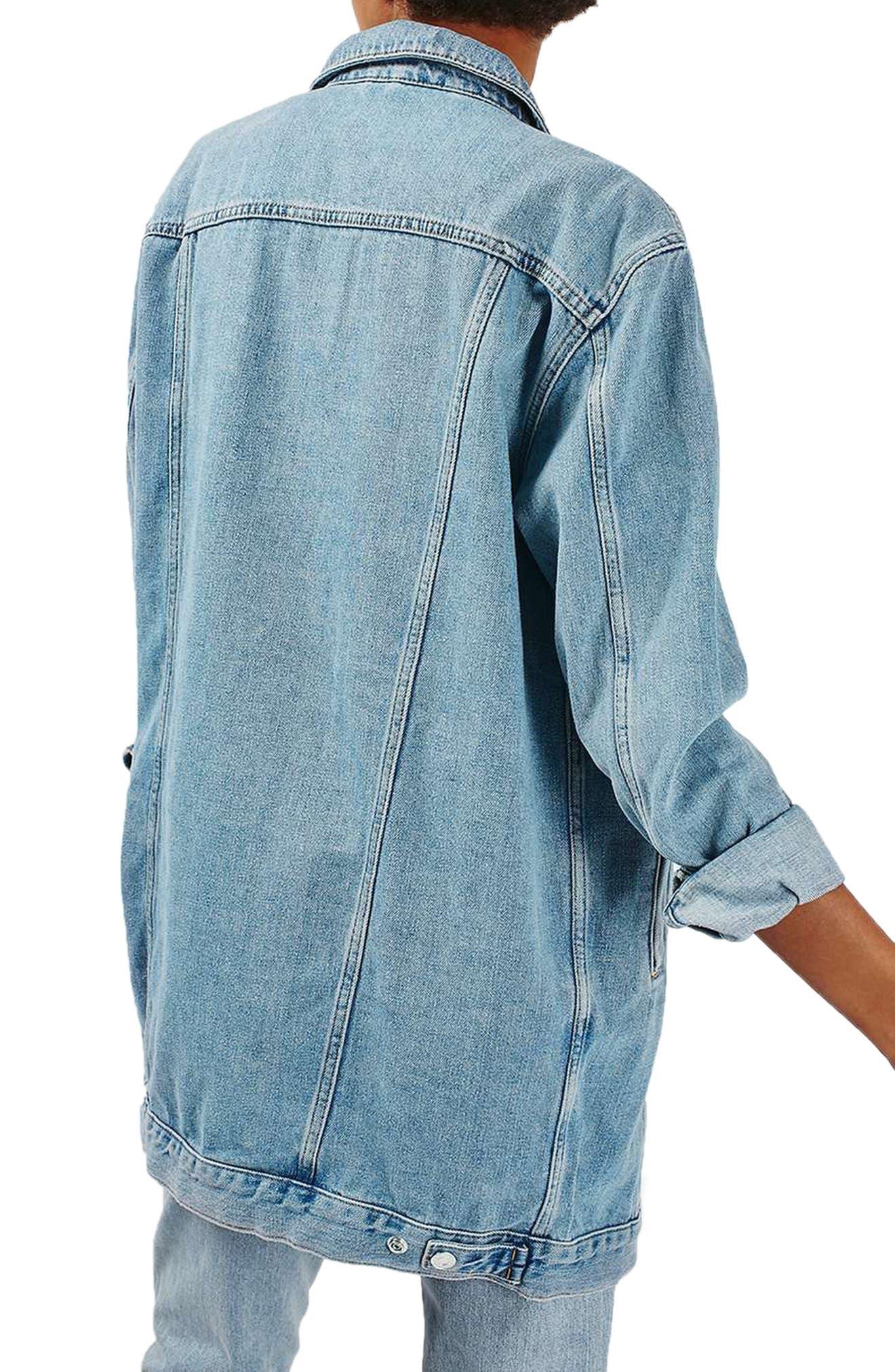 Longline Denim Jacket,                             Alternate thumbnail 2, color,                             400