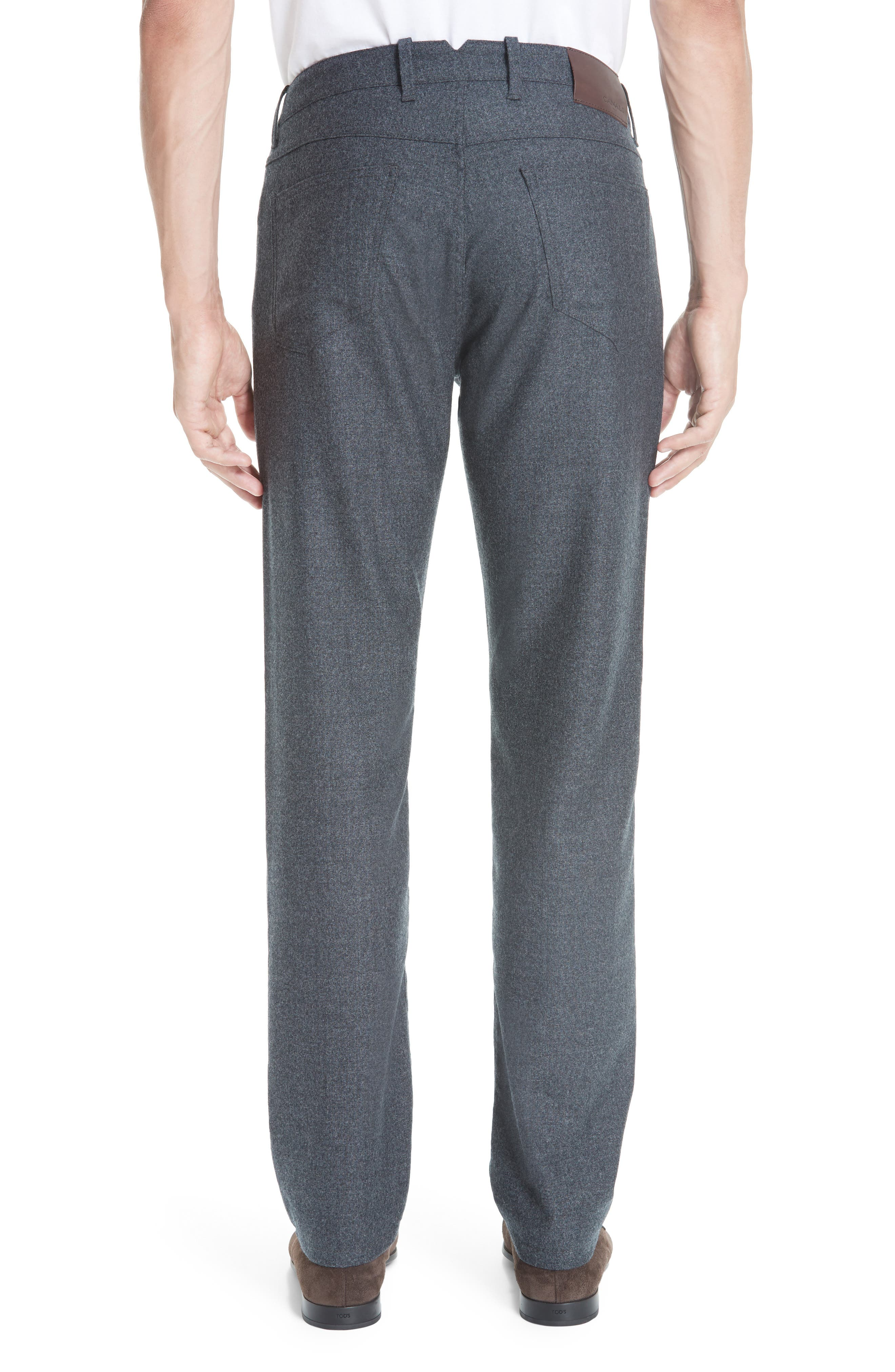 Flat Front Flannel Wool Five-Pocket Trousers,                             Alternate thumbnail 2, color,                             CHARCOAL