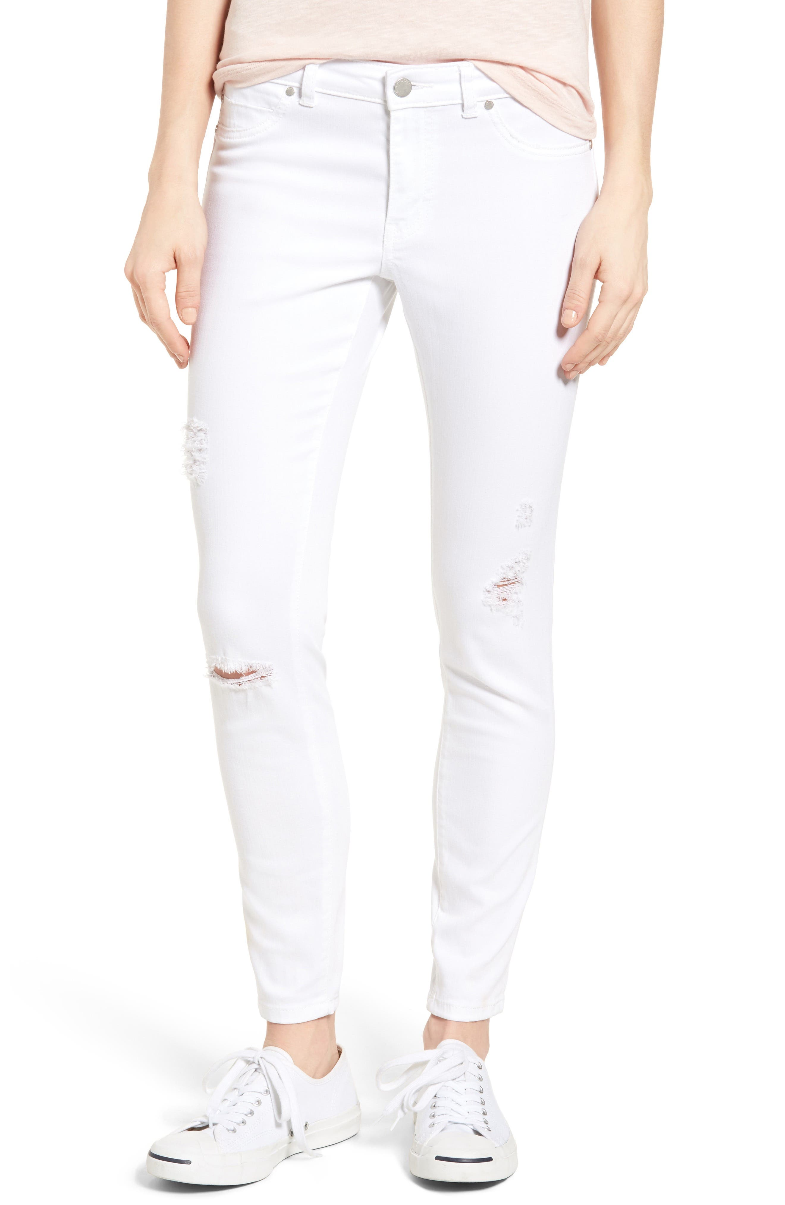 Distressed Skinny Jeans,                             Main thumbnail 1, color,                             100